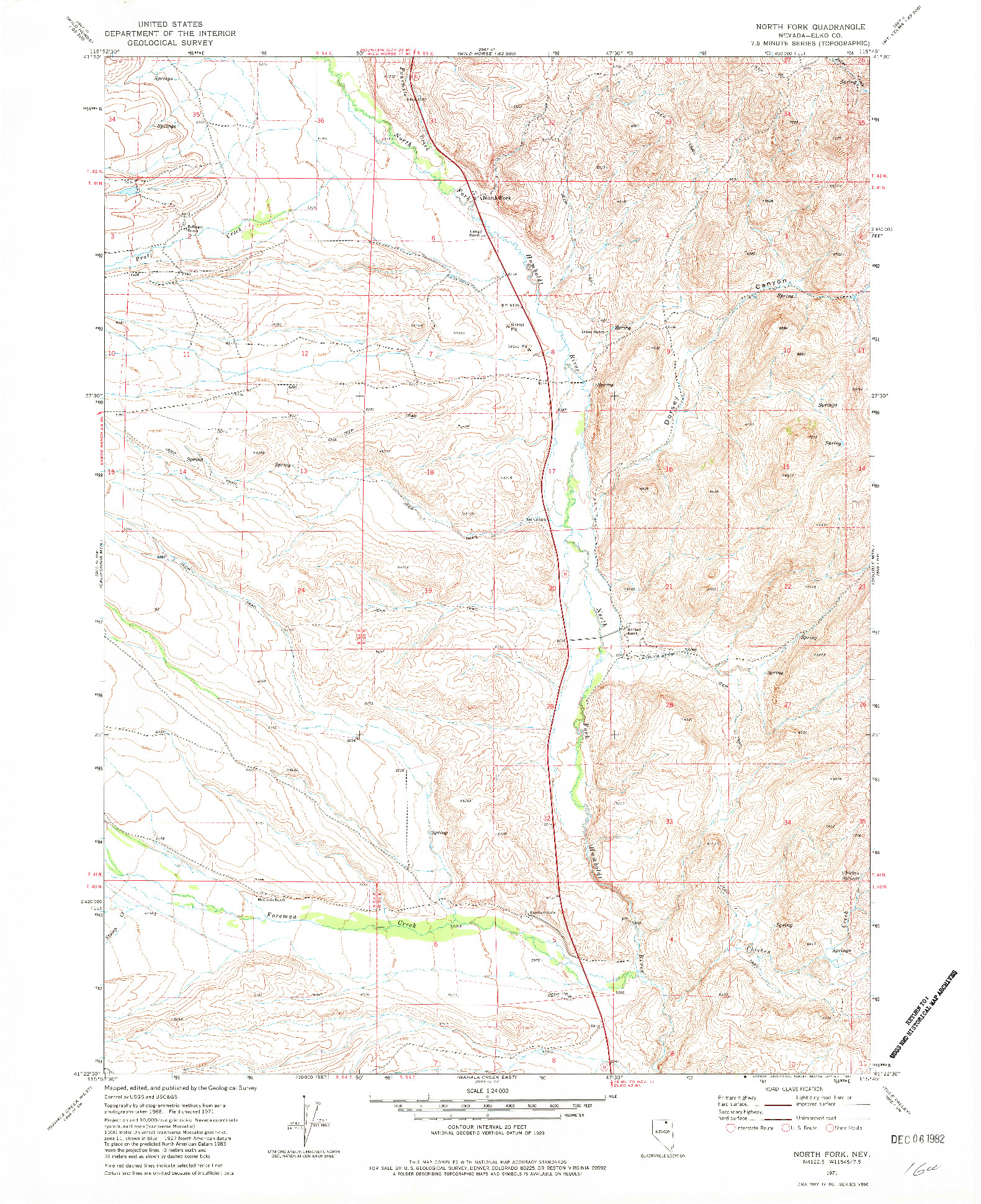 USGS 1:24000-SCALE QUADRANGLE FOR NORTH FORK, NV 1971