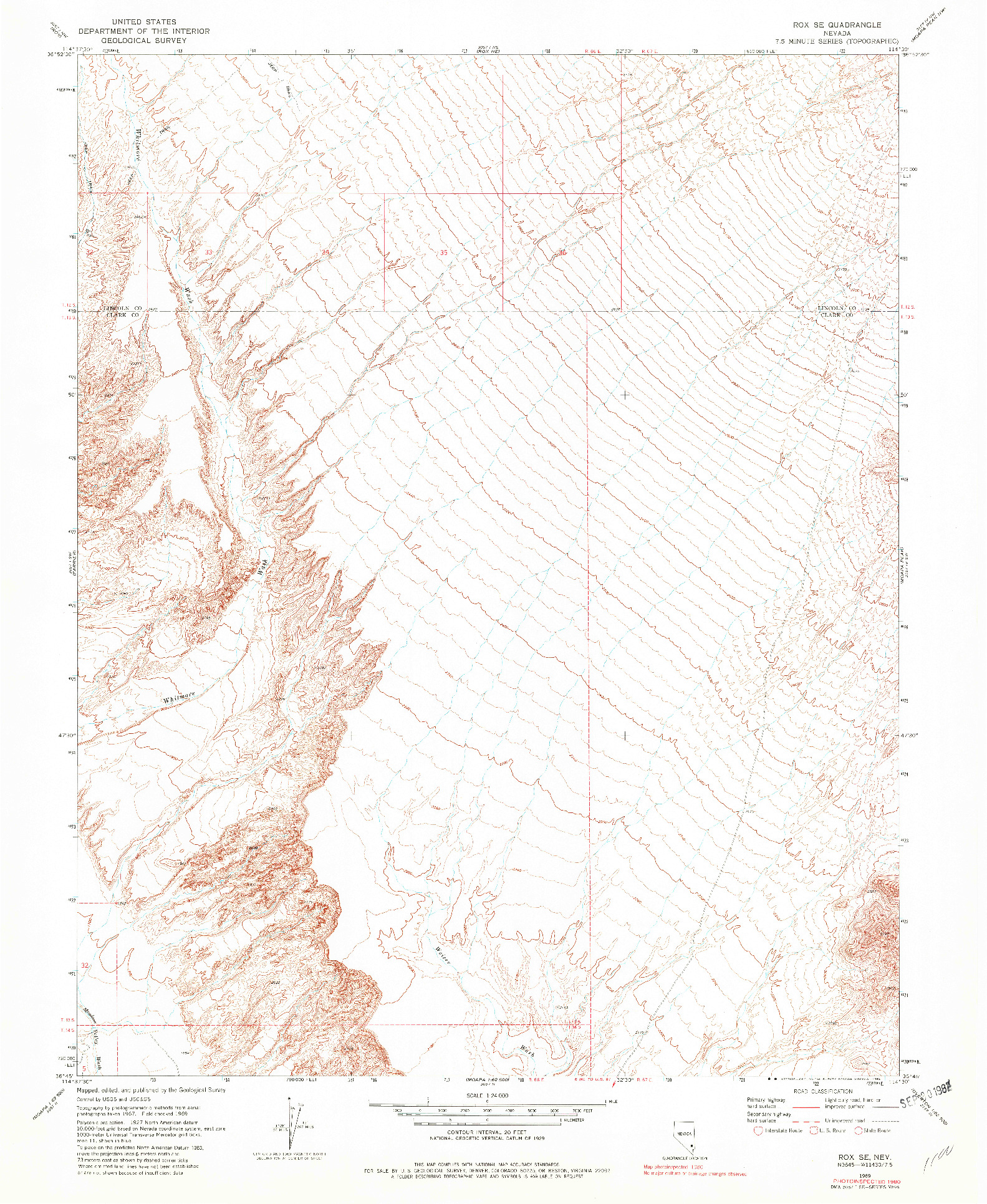 USGS 1:24000-SCALE QUADRANGLE FOR ROX SE, NV 1969