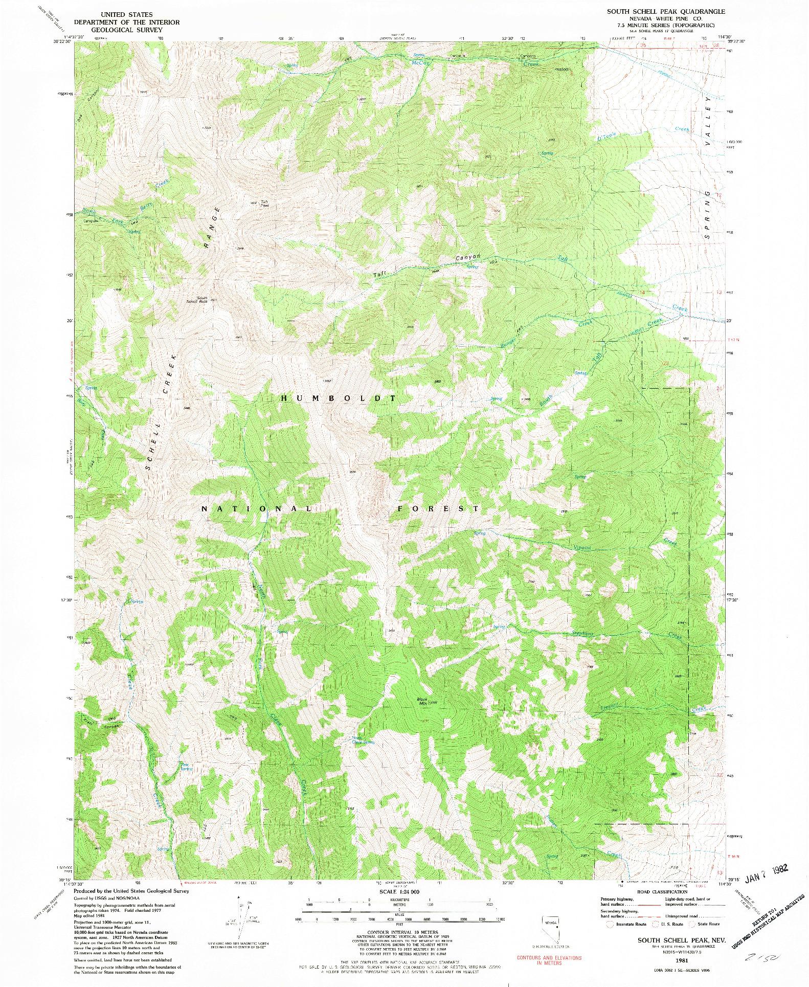 USGS 1:24000-SCALE QUADRANGLE FOR SOUTH SCHELL PEAK, NV 1981