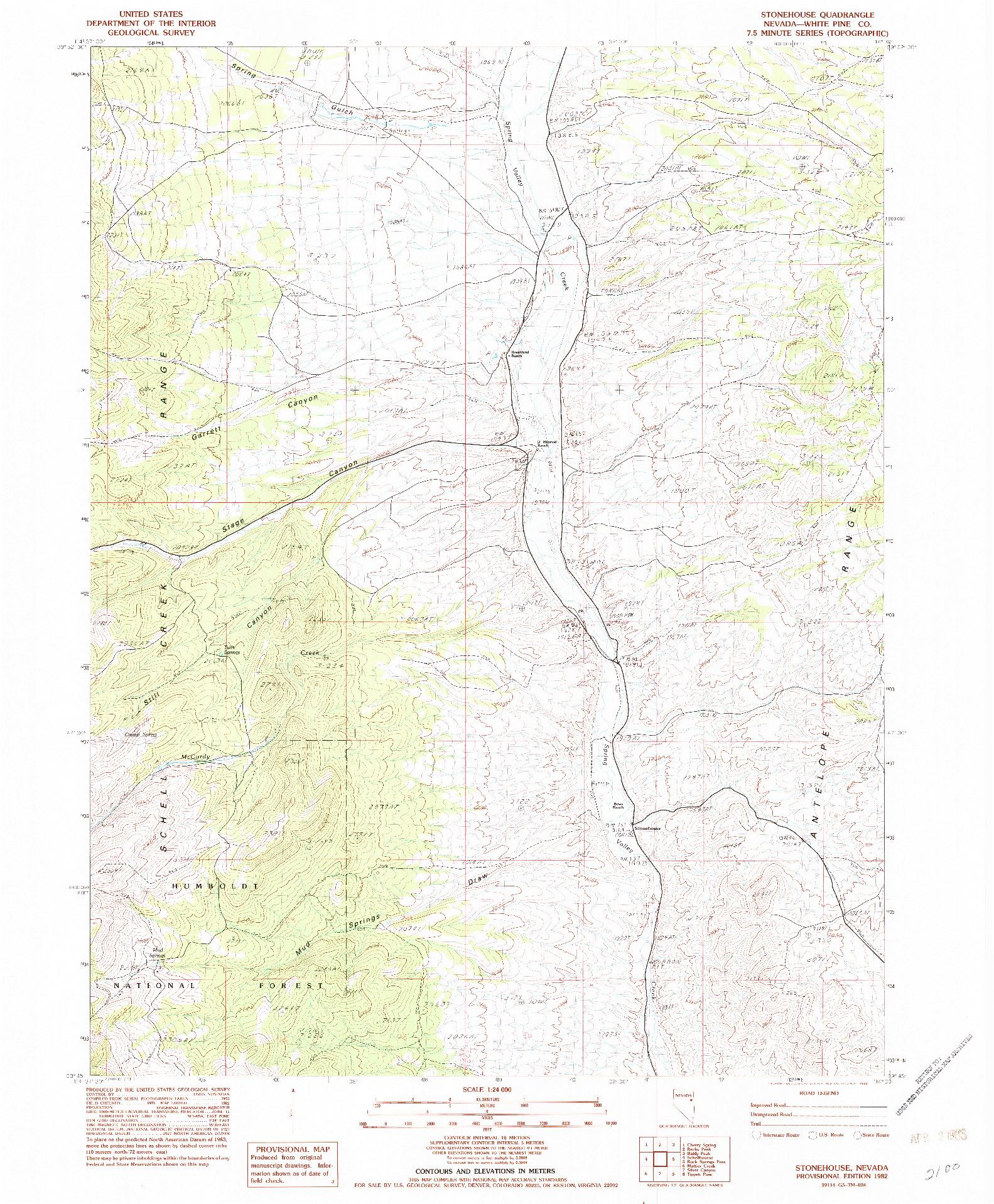 USGS 1:24000-SCALE QUADRANGLE FOR STONEHOUSE, NV 1982