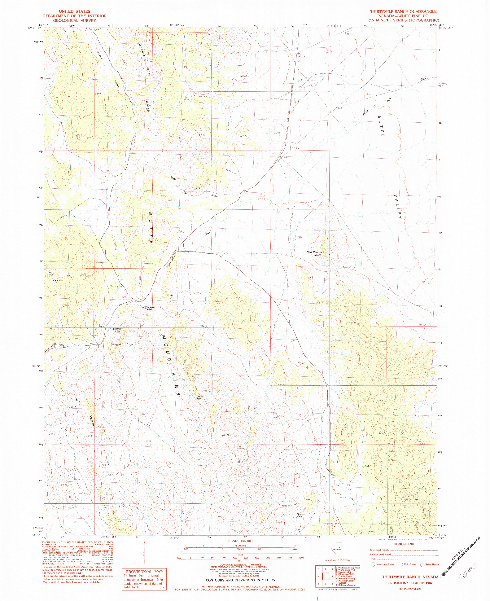 USGS 1:24000-SCALE QUADRANGLE FOR THIRTYMILE RANCH, NV 1982