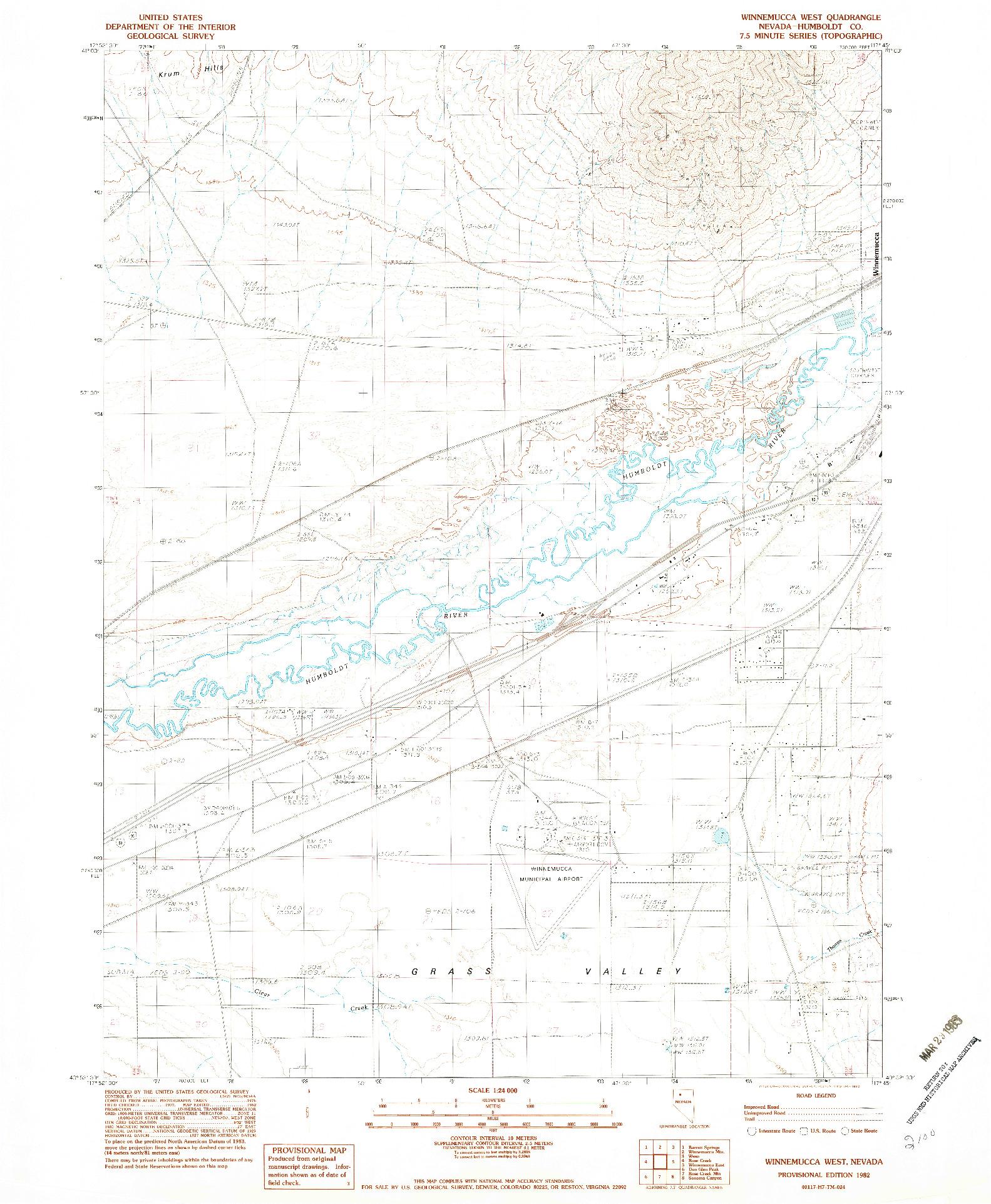 USGS 1:24000-SCALE QUADRANGLE FOR WINNEMUCCA WEST, NV 1982