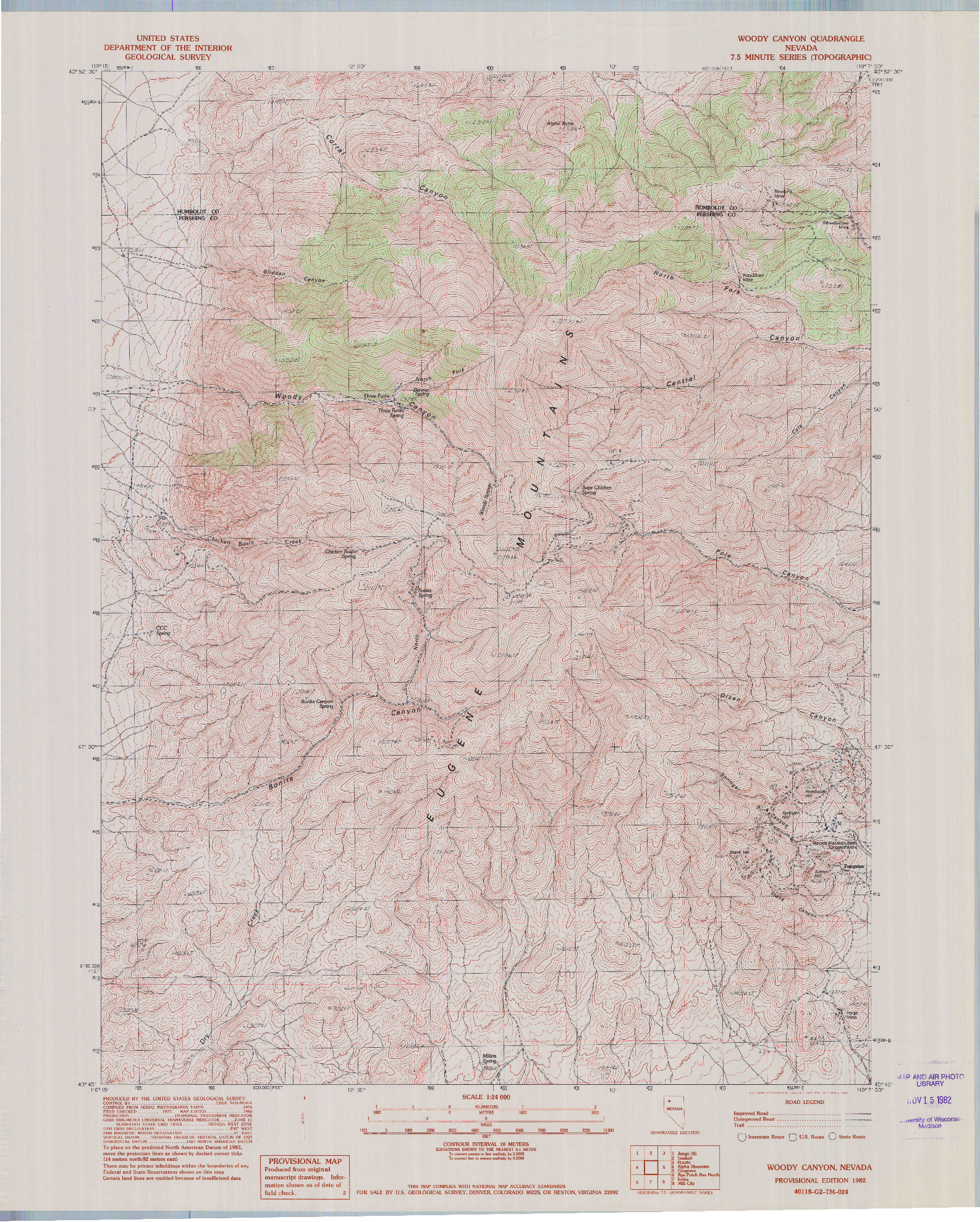 USGS 1:24000-SCALE QUADRANGLE FOR WOODY CANYON, NV 1982