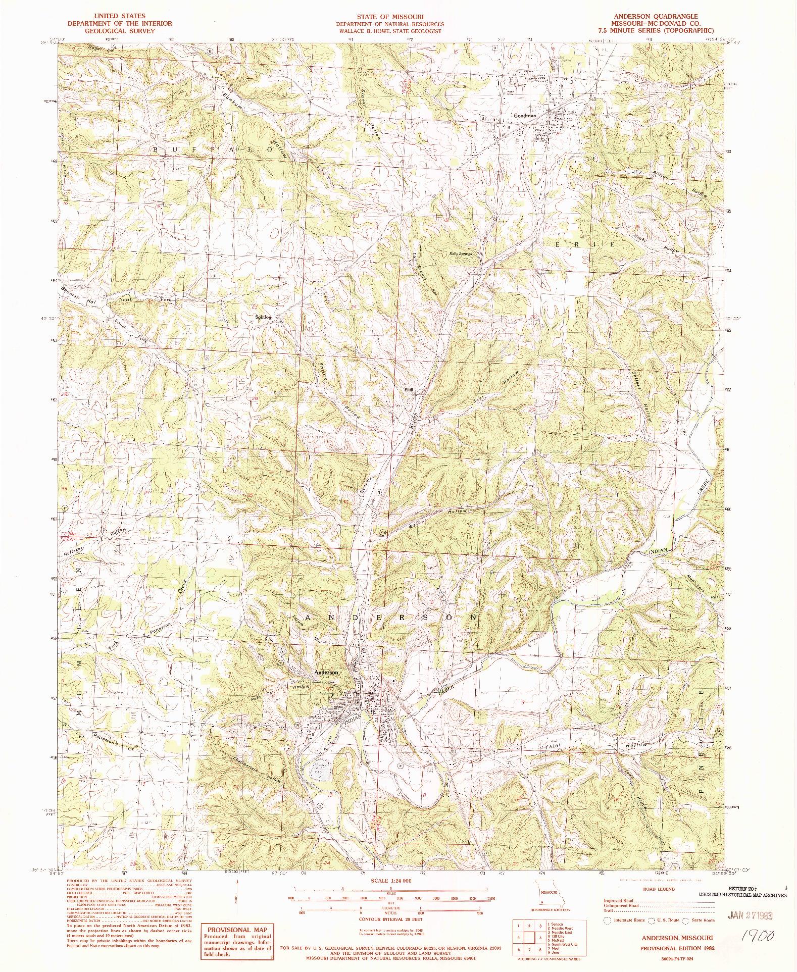 USGS 1:24000-SCALE QUADRANGLE FOR ANDERSON, MO 1982