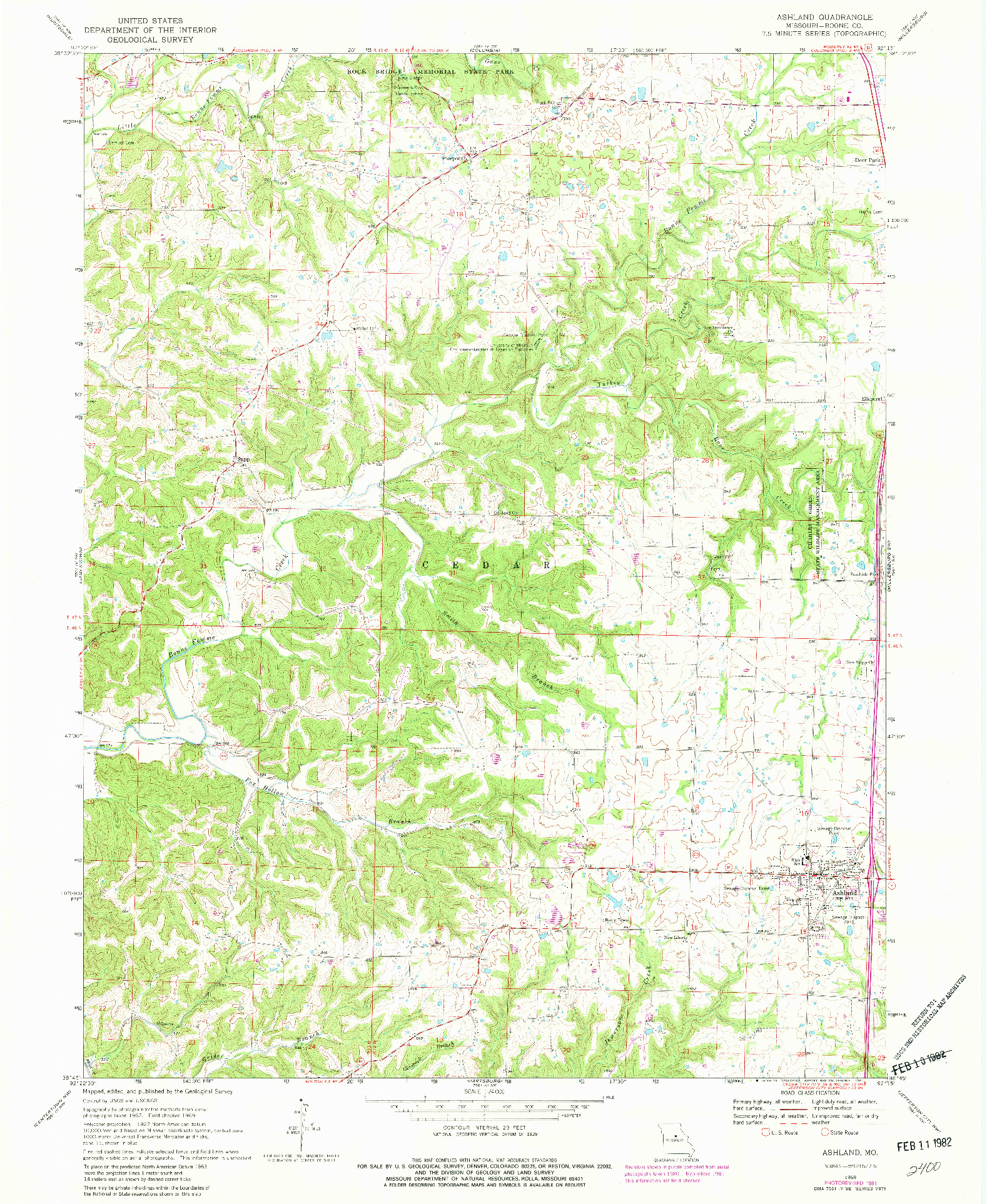 USGS 1:24000-SCALE QUADRANGLE FOR ASHLAND, MO 1969