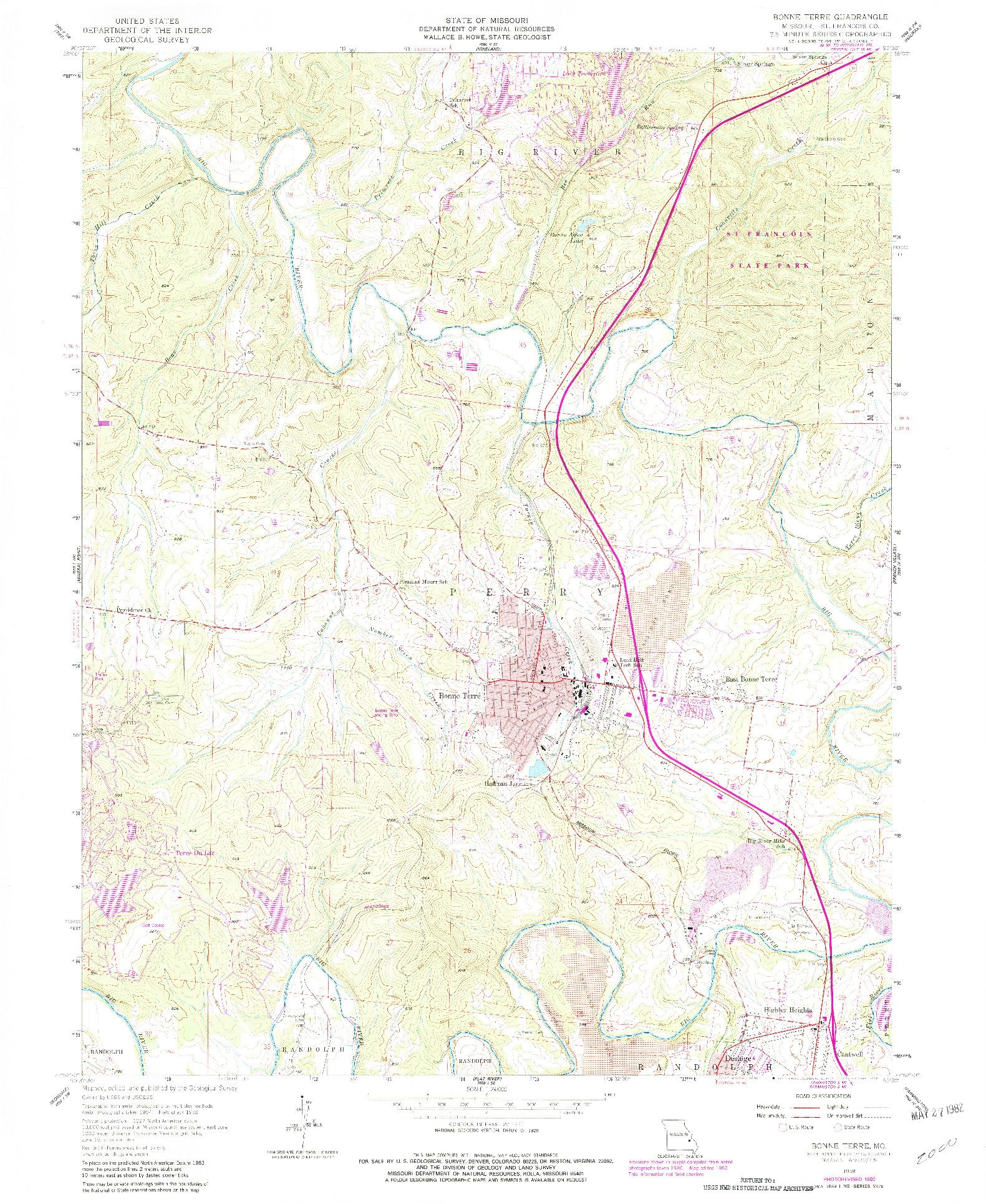 USGS 1:24000-SCALE QUADRANGLE FOR BONNE TERRE, MO 1958