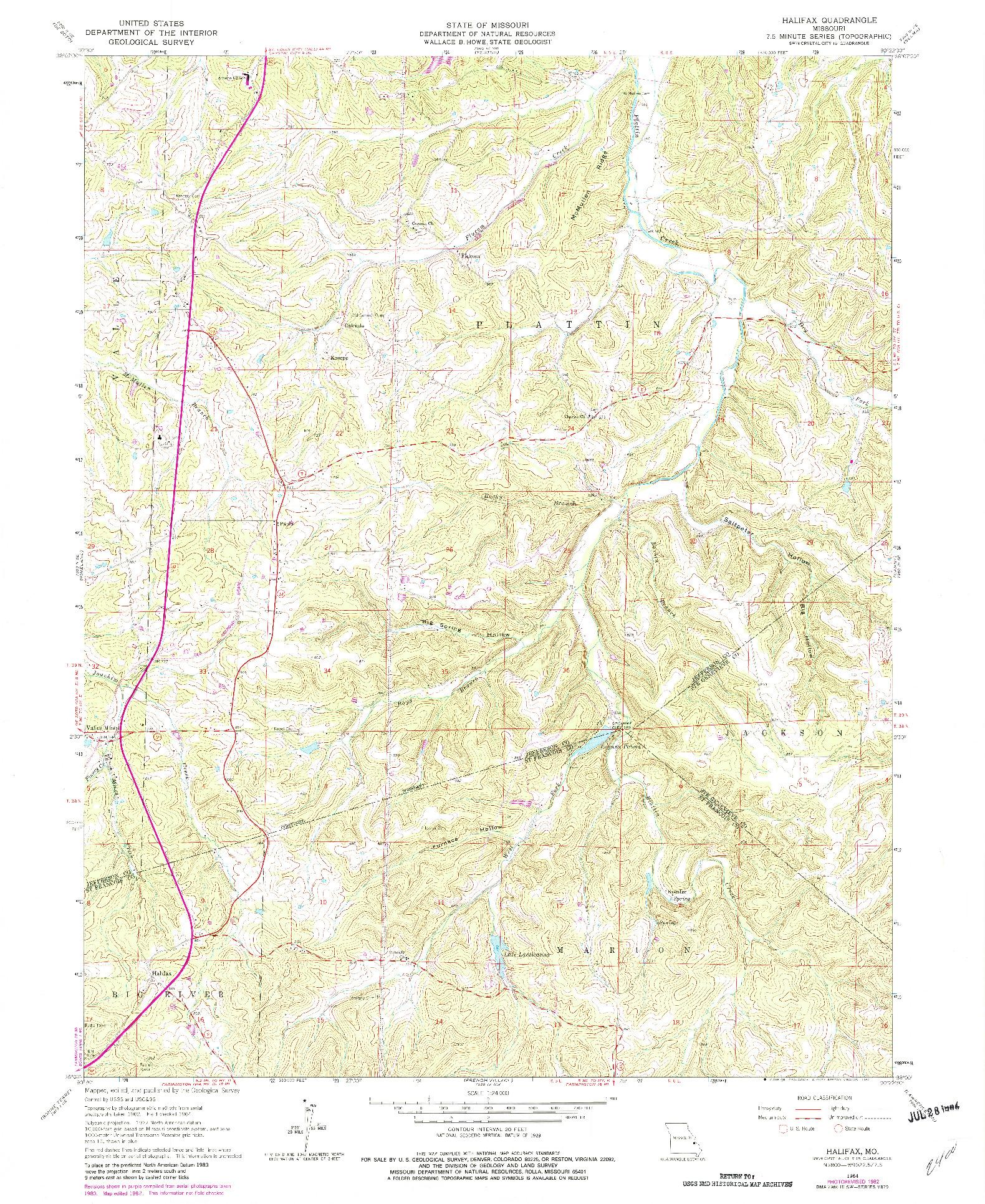 USGS 1:24000-SCALE QUADRANGLE FOR HALIFAX, MO 1964