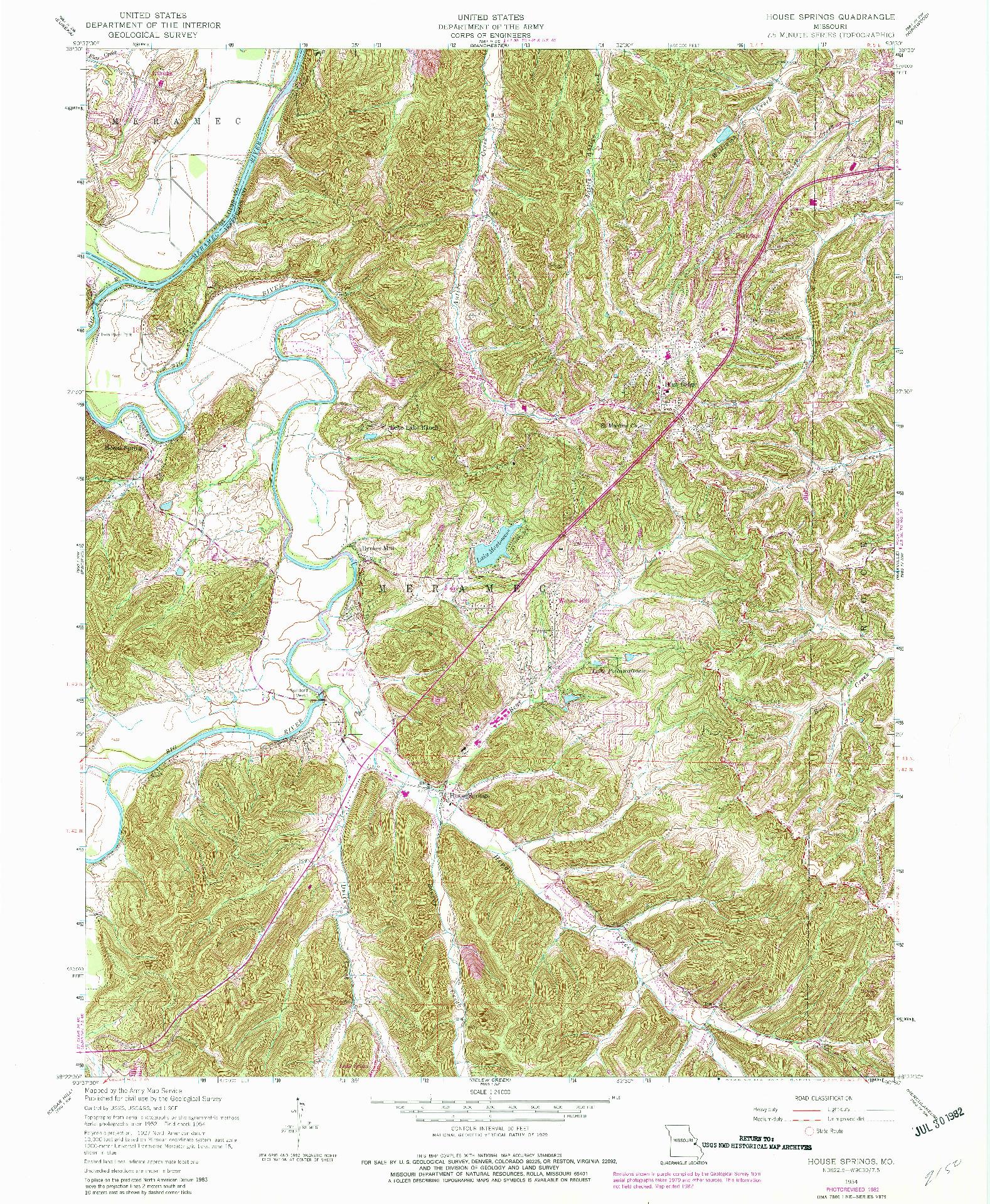 USGS 1:24000-SCALE QUADRANGLE FOR HOUSE SPRINGS, MO 1954