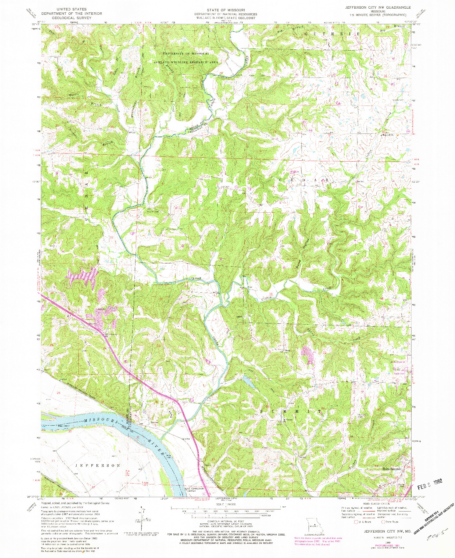 USGS 1:24000-SCALE QUADRANGLE FOR JEFFERSON CITY NW, MO 1962
