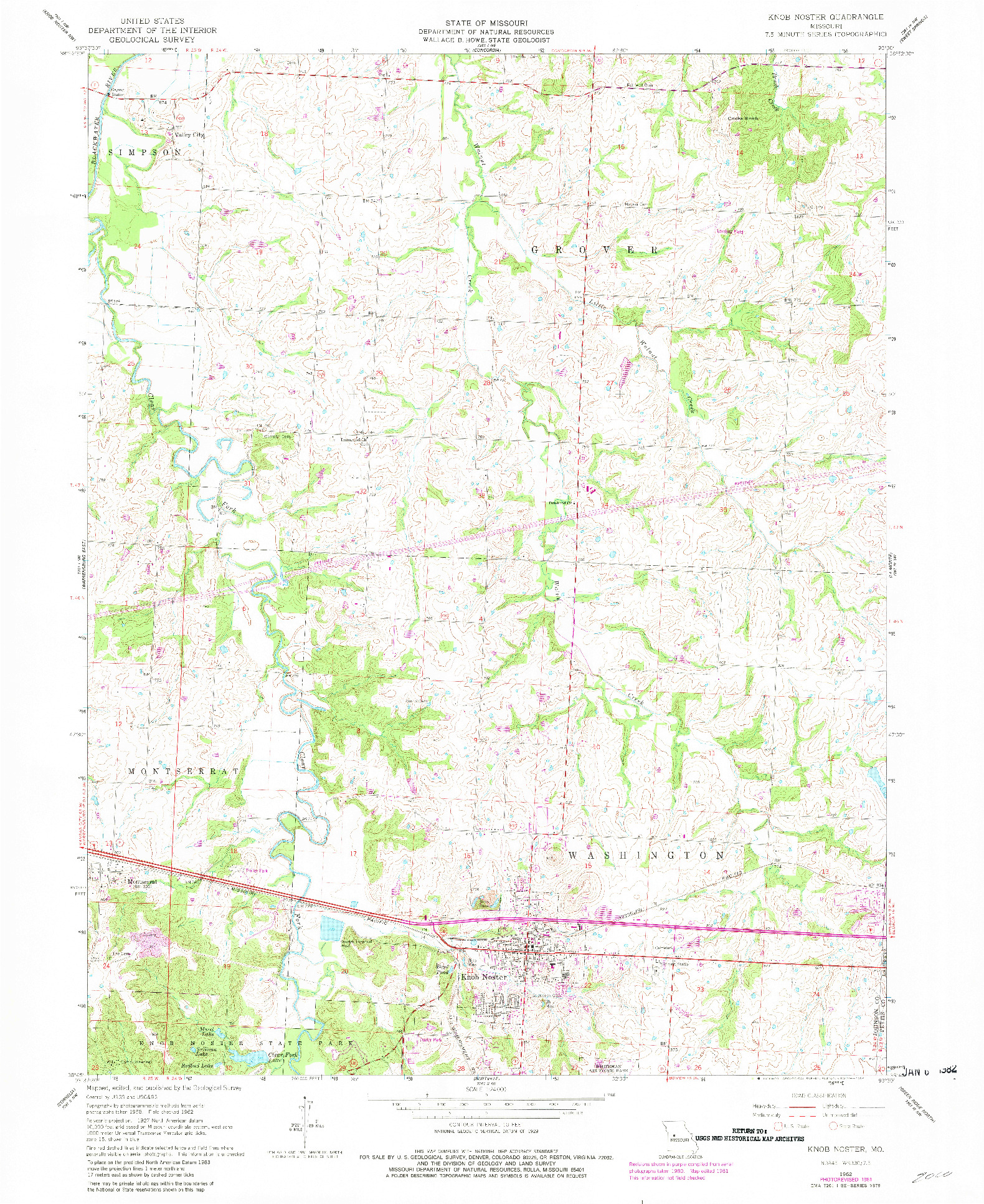 USGS 1:24000-SCALE QUADRANGLE FOR KNOB NOSTER, MO 1962