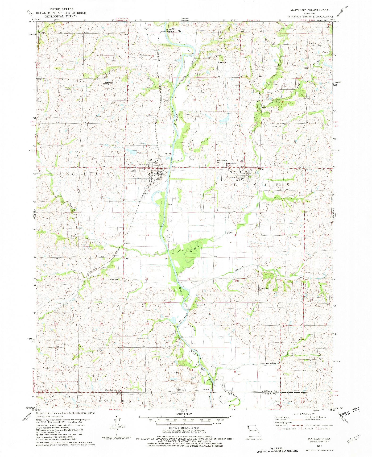 USGS 1:24000-SCALE QUADRANGLE FOR MAITLAND, MO 1981