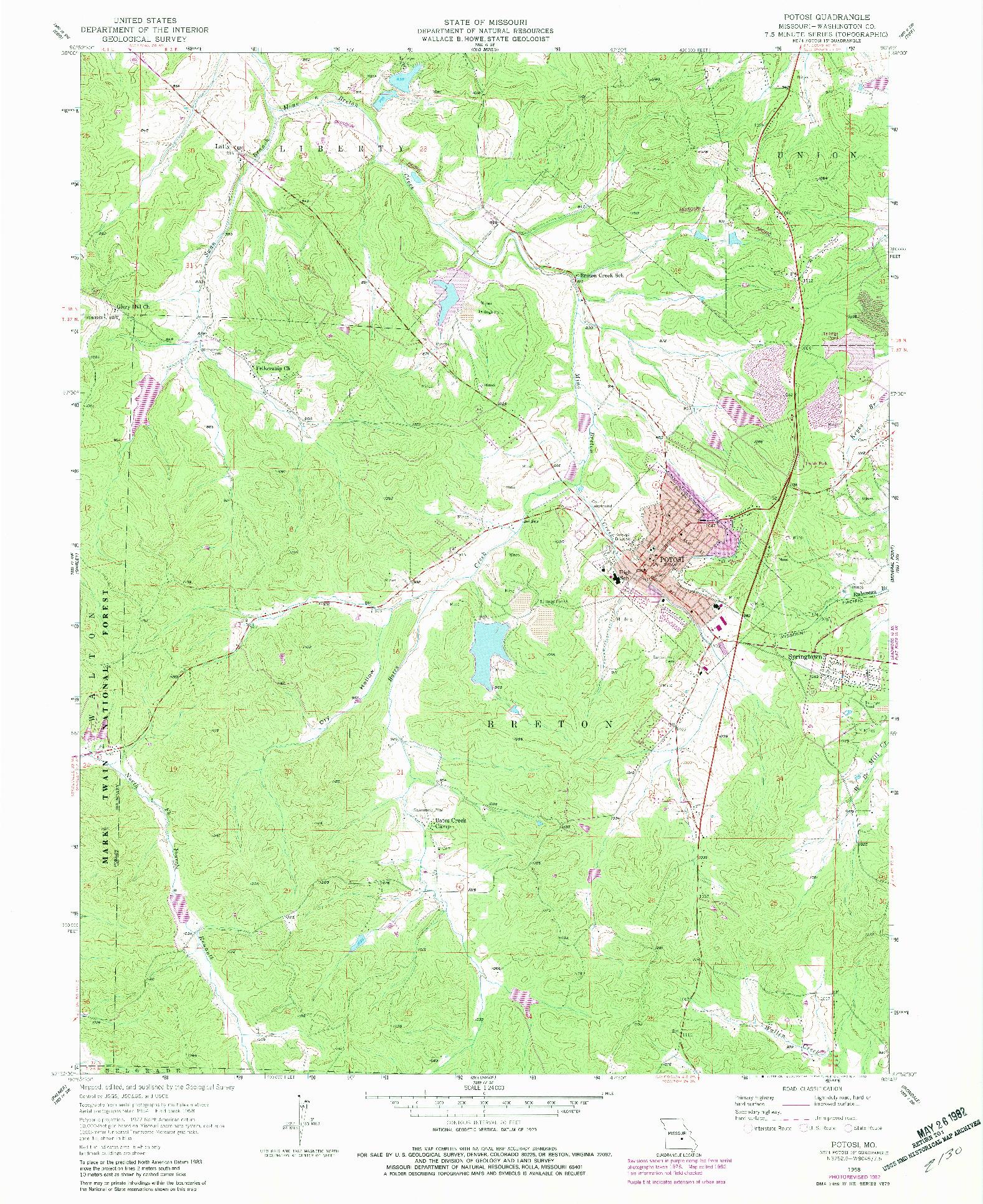USGS 1:24000-SCALE QUADRANGLE FOR POTOSI, MO 1958