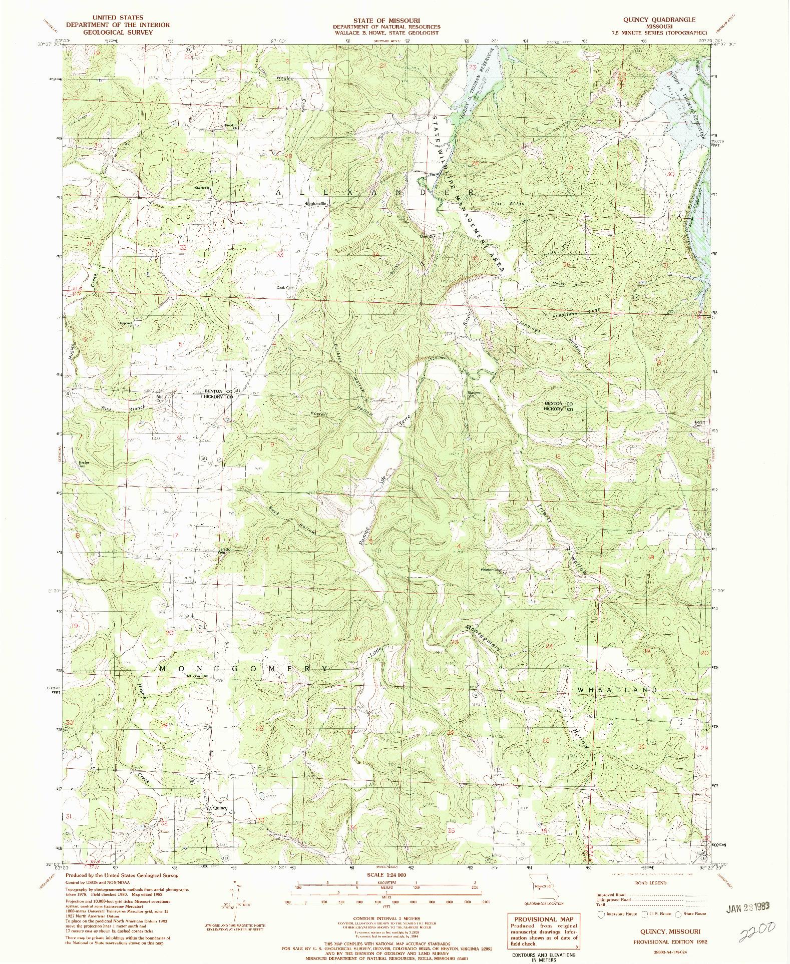 USGS 1:24000-SCALE QUADRANGLE FOR QUINCY, MO 1982