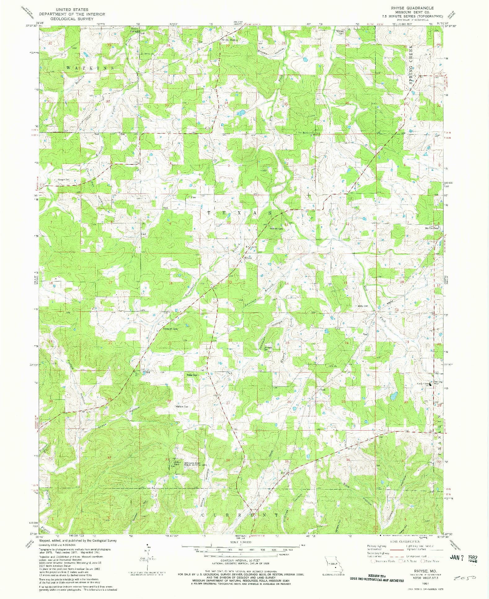 USGS 1:24000-SCALE QUADRANGLE FOR RHYSE, MO 1981