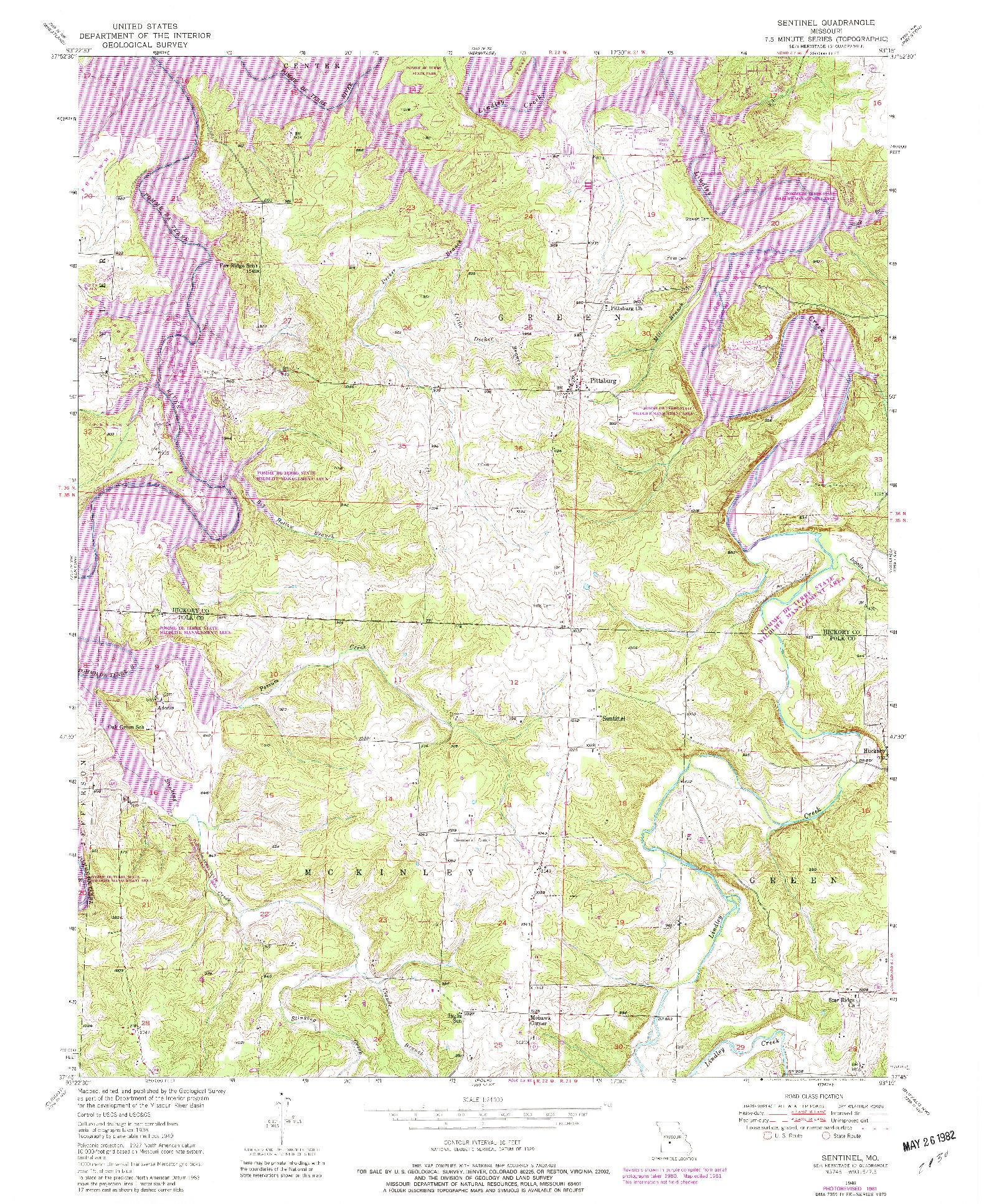USGS 1:24000-SCALE QUADRANGLE FOR SENTINEL, MO 1949