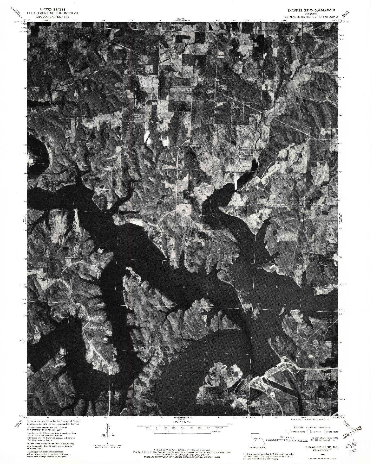 USGS 1:24000-SCALE QUADRANGLE FOR SHAWNEE BEND, MO 1980
