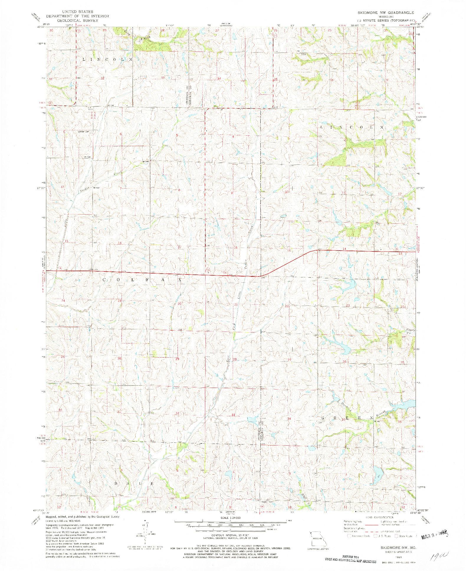 USGS 1:24000-SCALE QUADRANGLE FOR SKIDMORE NW, MO 1981