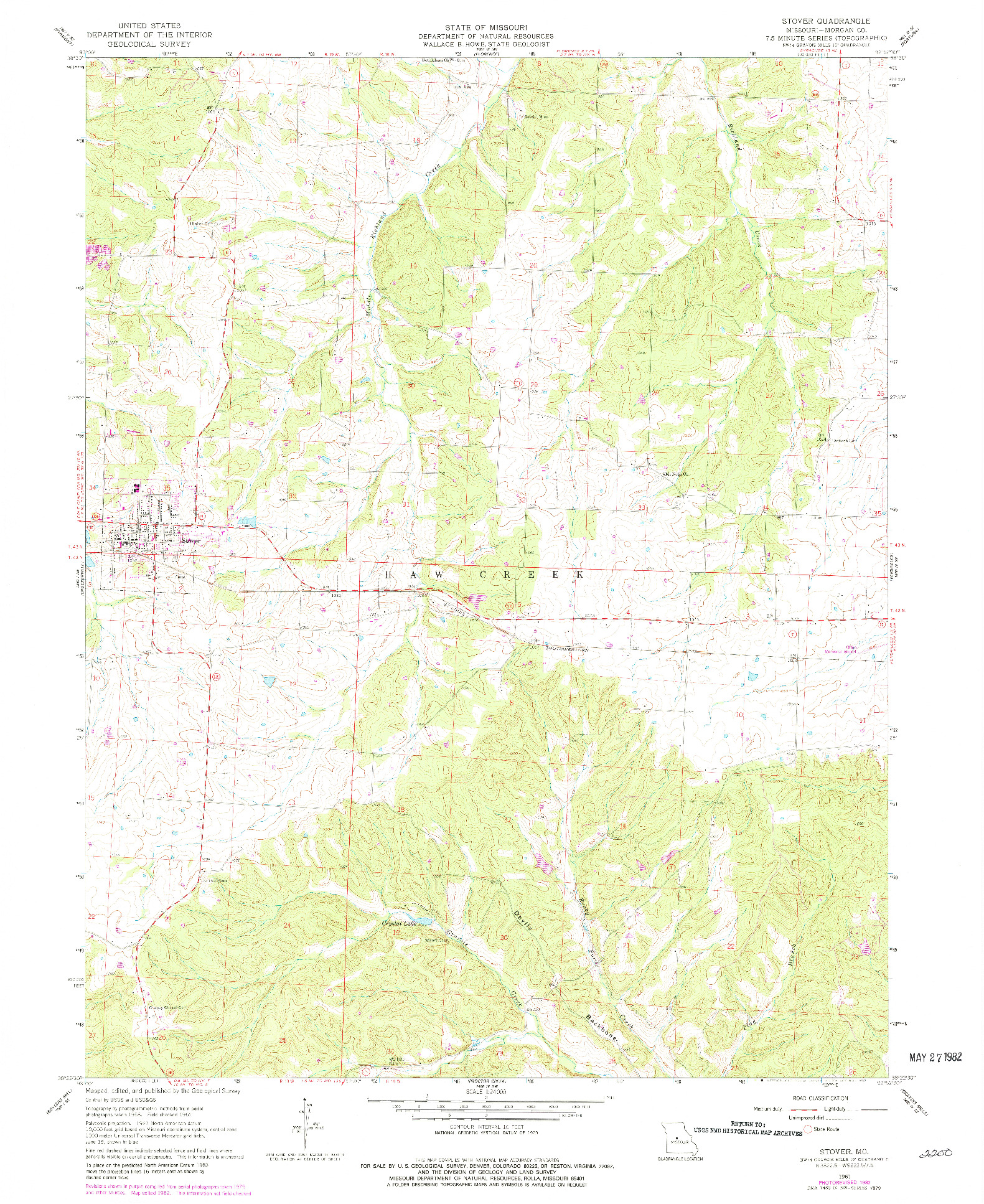USGS 1:24000-SCALE QUADRANGLE FOR STOVER, MO 1961