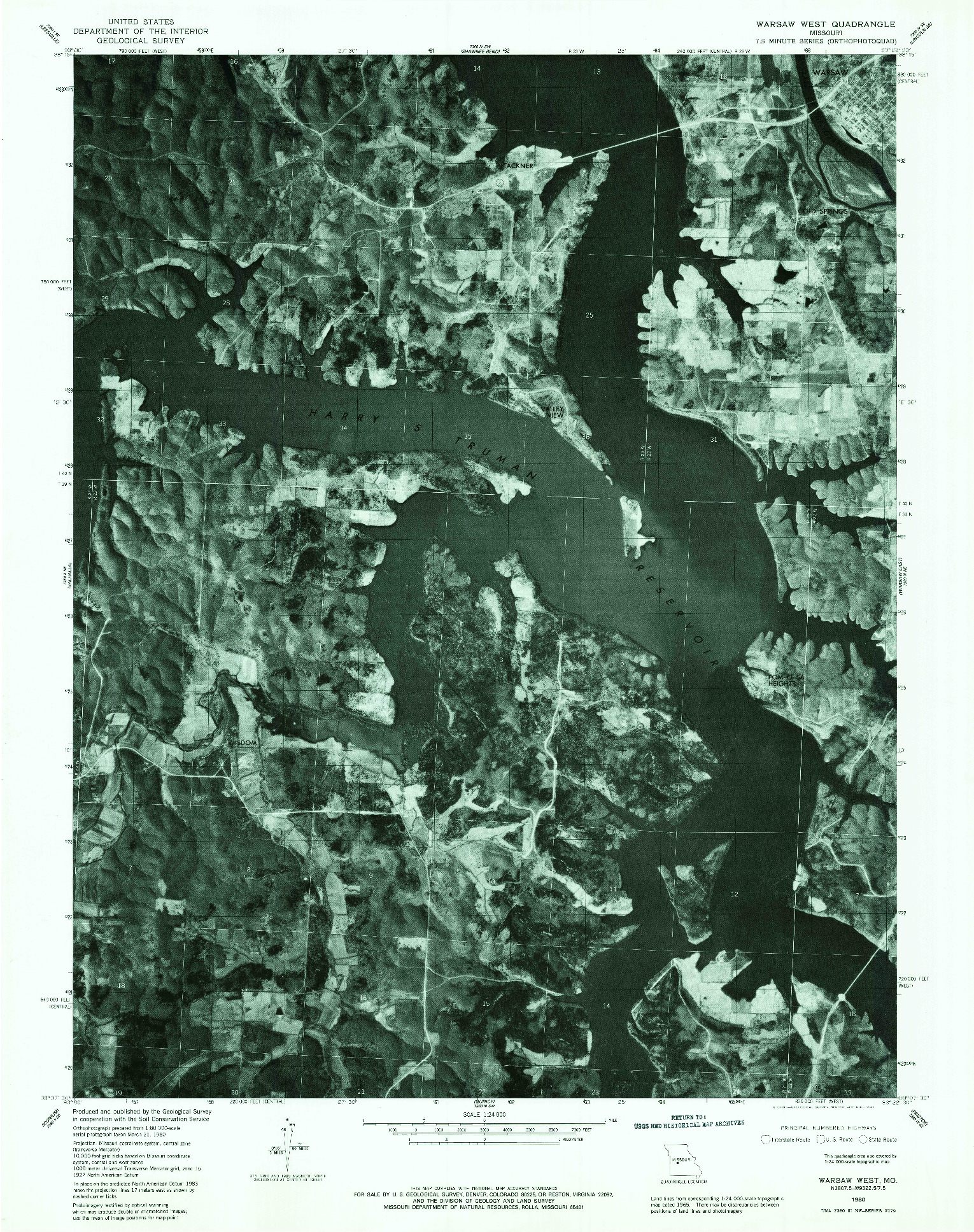 USGS 1:24000-SCALE QUADRANGLE FOR WARSAW WEST, MO 1980