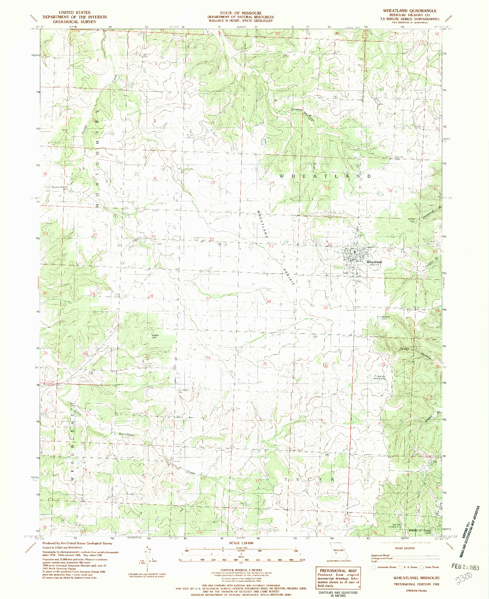 USGS 1:24000-SCALE QUADRANGLE FOR WHEATLAND, MO 1982