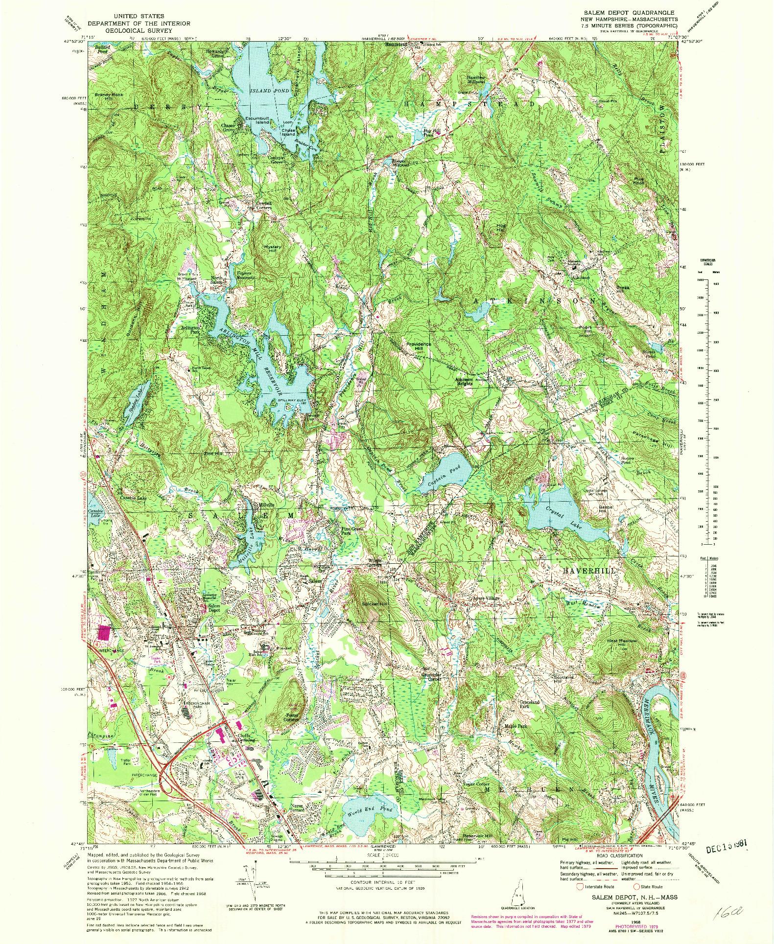 USGS 1:24000-SCALE QUADRANGLE FOR SALEM DEPOT, NH 1968