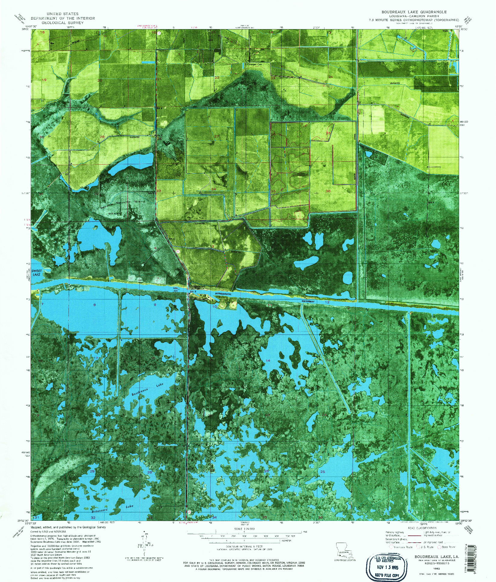 USGS 1:24000-SCALE QUADRANGLE FOR BOUDREAUX LAKE, LA 1982