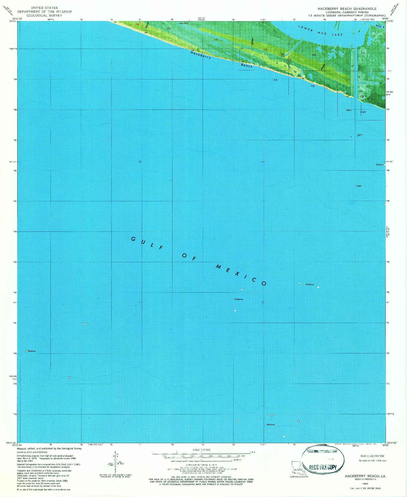 USGS 1:24000-SCALE QUADRANGLE FOR HACKBERRY BEACH, LA 1982