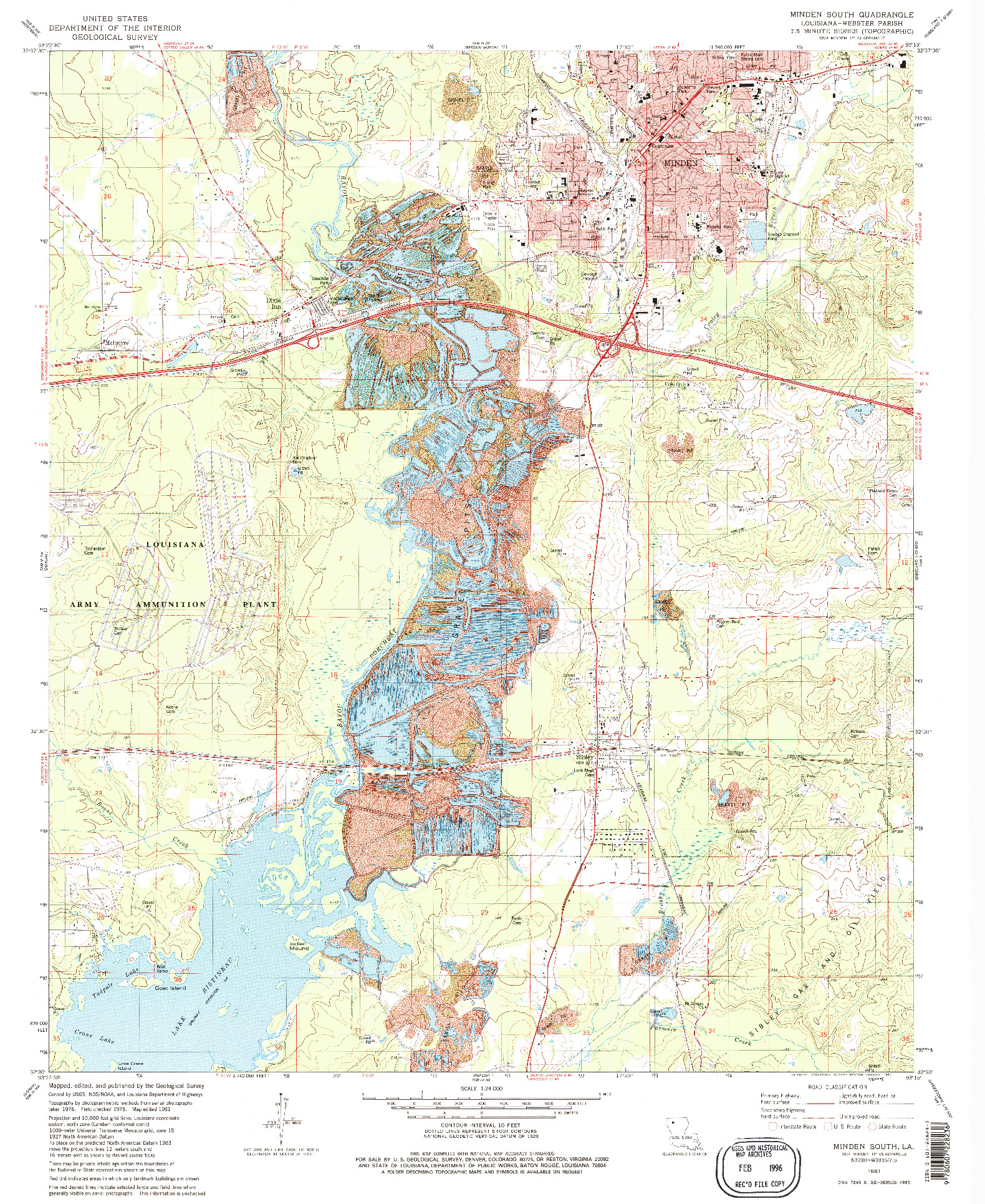 USGS 1:24000-SCALE QUADRANGLE FOR MINDEN SOUTH, LA 1981