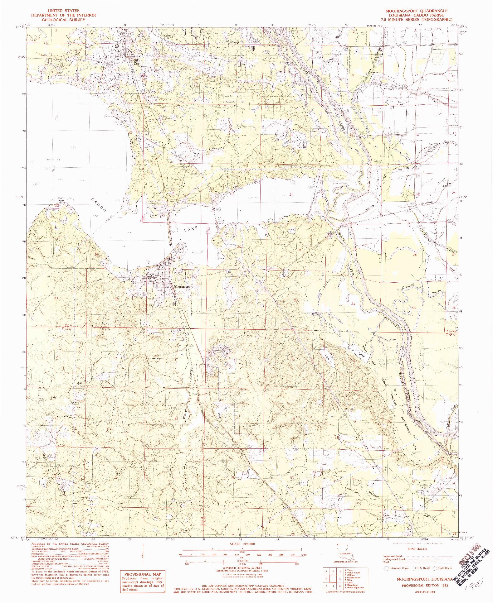 USGS 1:24000-SCALE QUADRANGLE FOR MOORINGSPORT, LA 1982