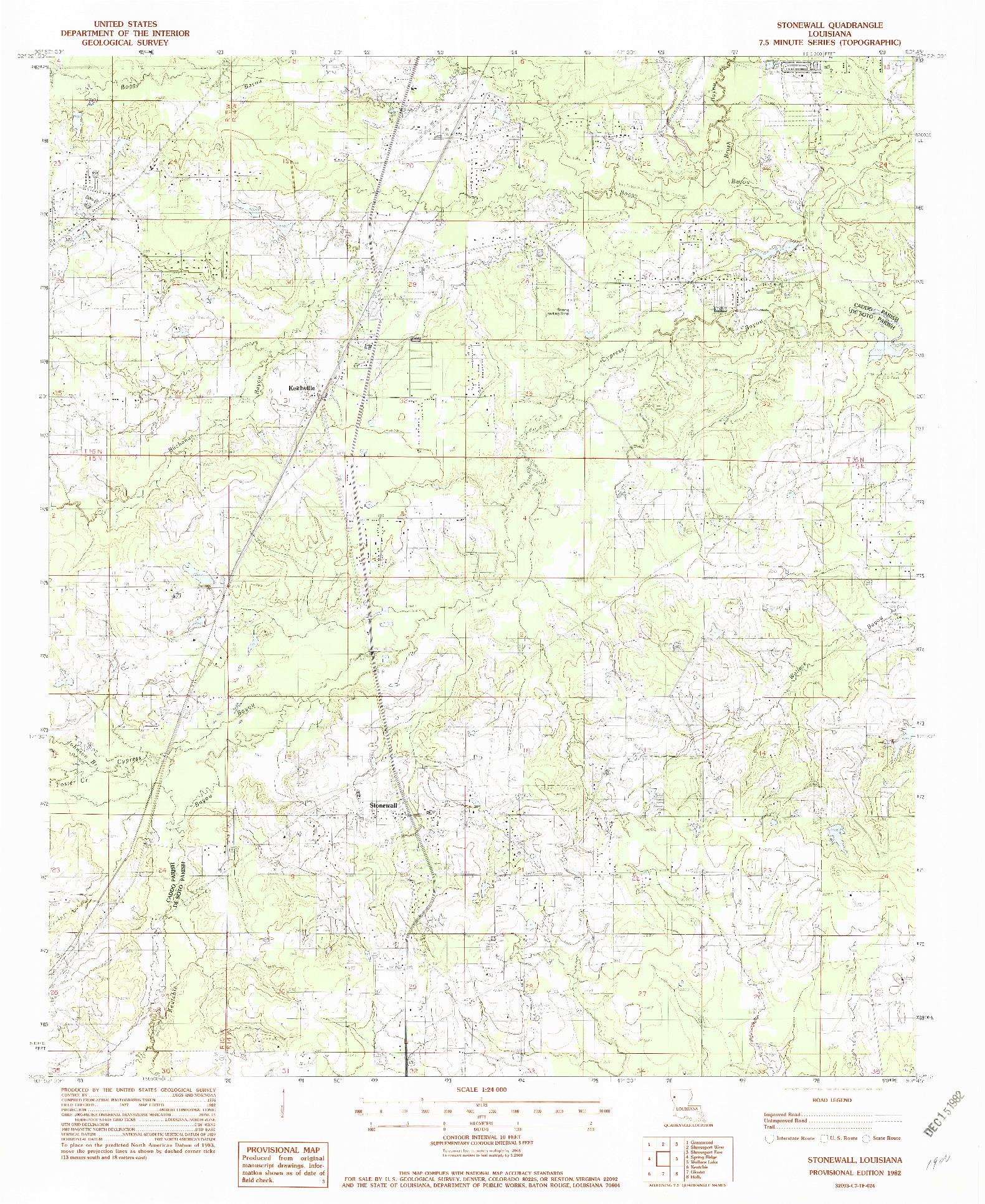 USGS 1:24000-SCALE QUADRANGLE FOR STONEWALL, LA 1982