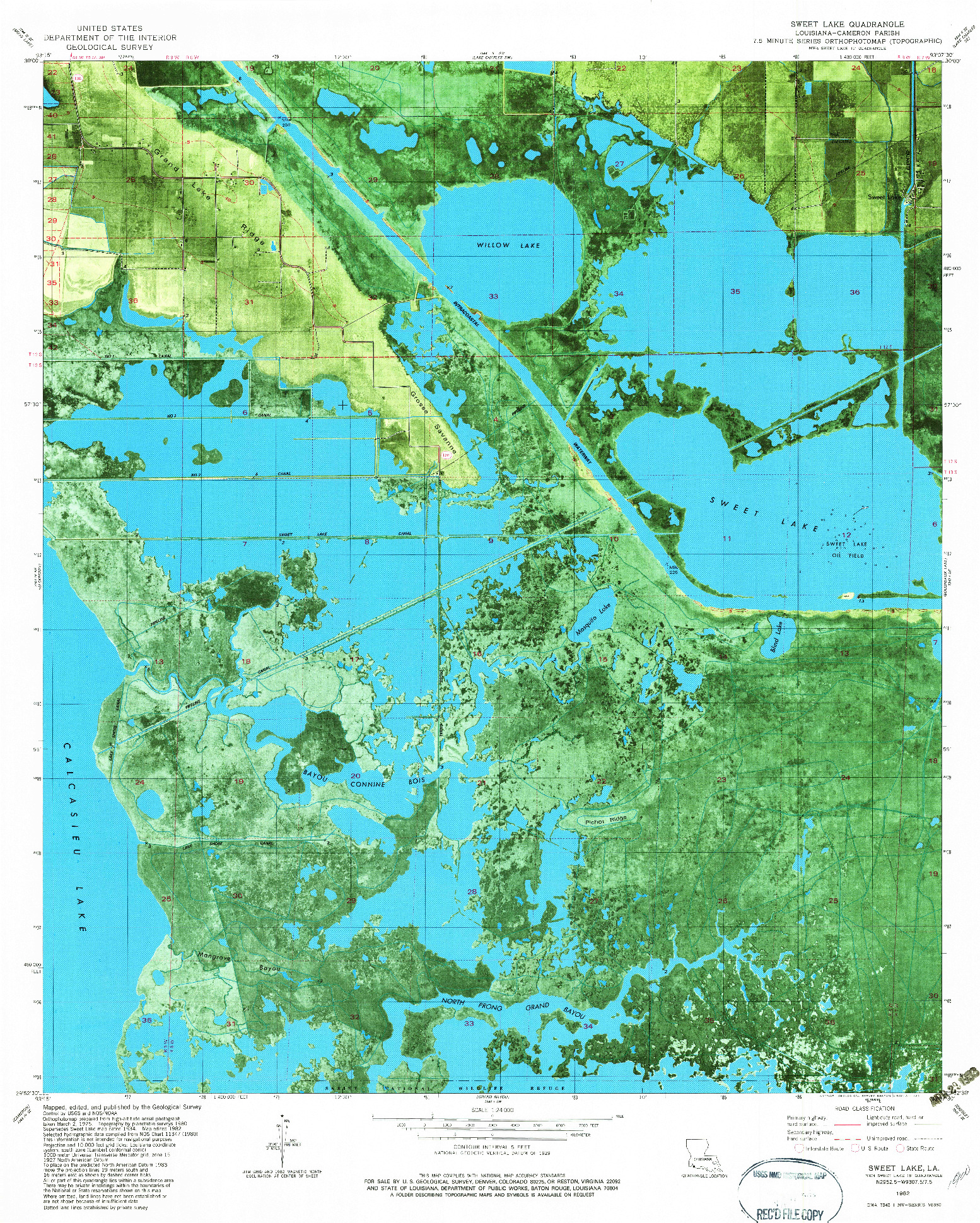 USGS 1:24000-SCALE QUADRANGLE FOR SWEET LAKE, LA 1982