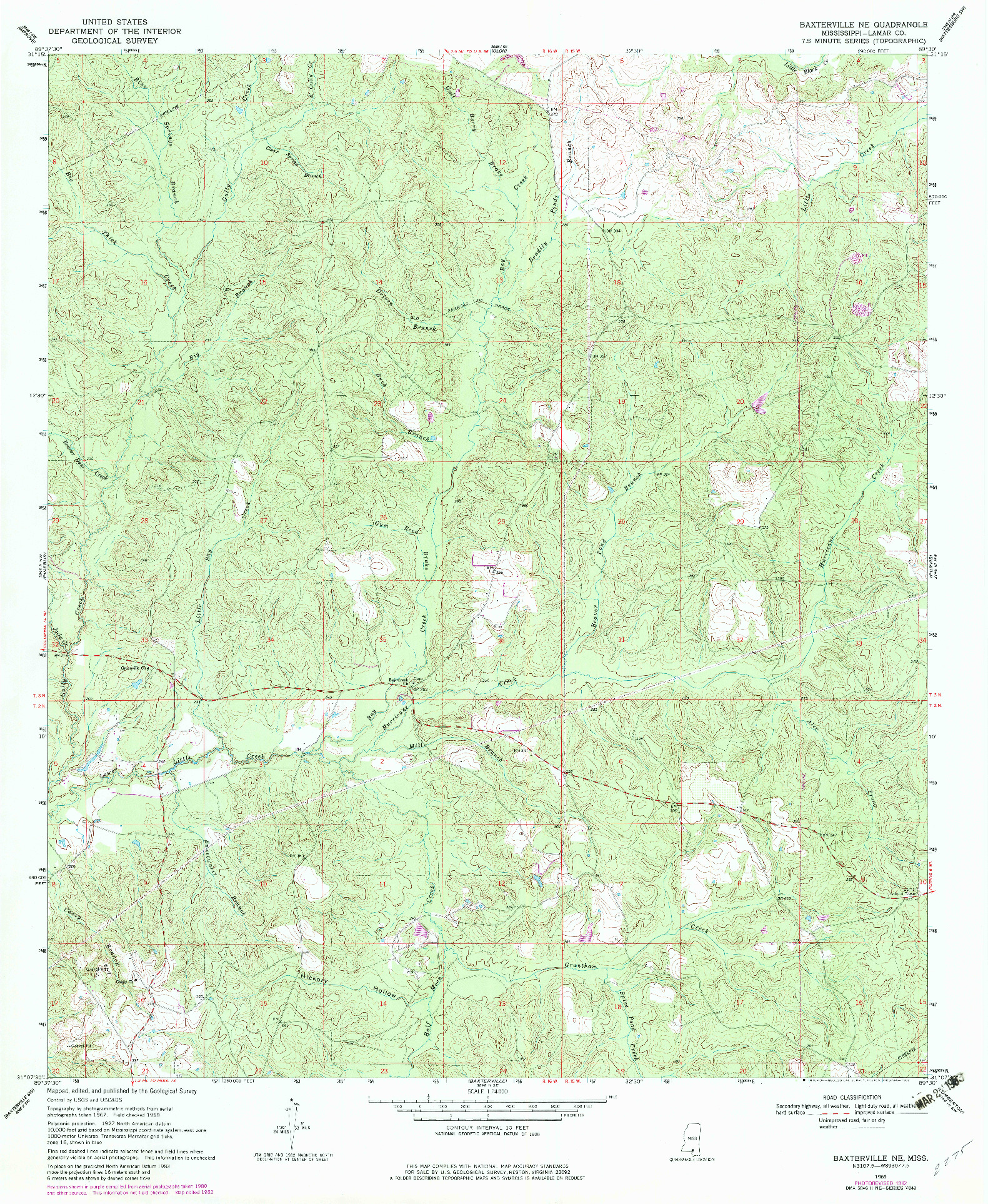 USGS 1:24000-SCALE QUADRANGLE FOR BAXTERVILLE NE, MS 1969