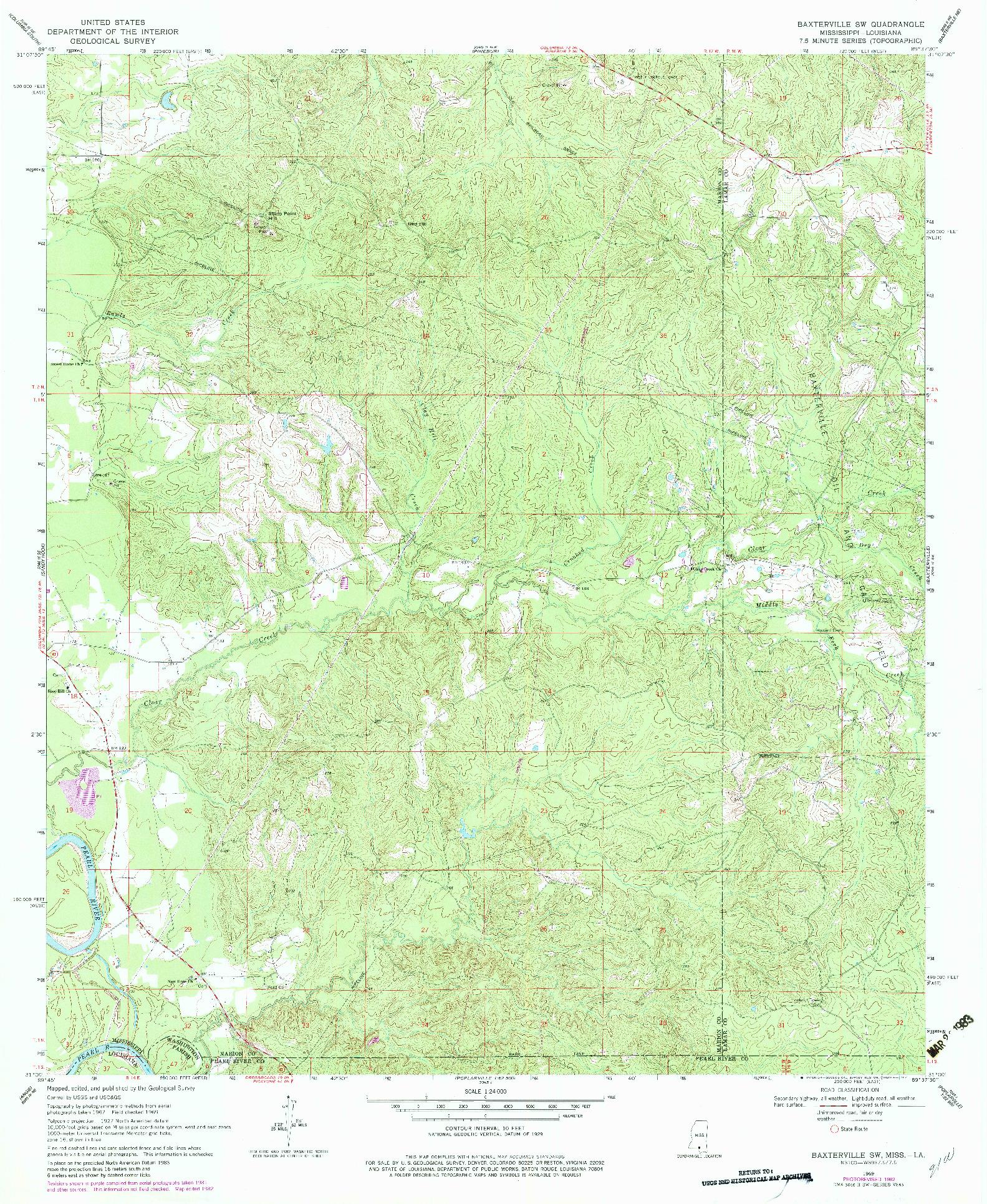 USGS 1:24000-SCALE QUADRANGLE FOR BAXTERVILLE SW, MS 1969