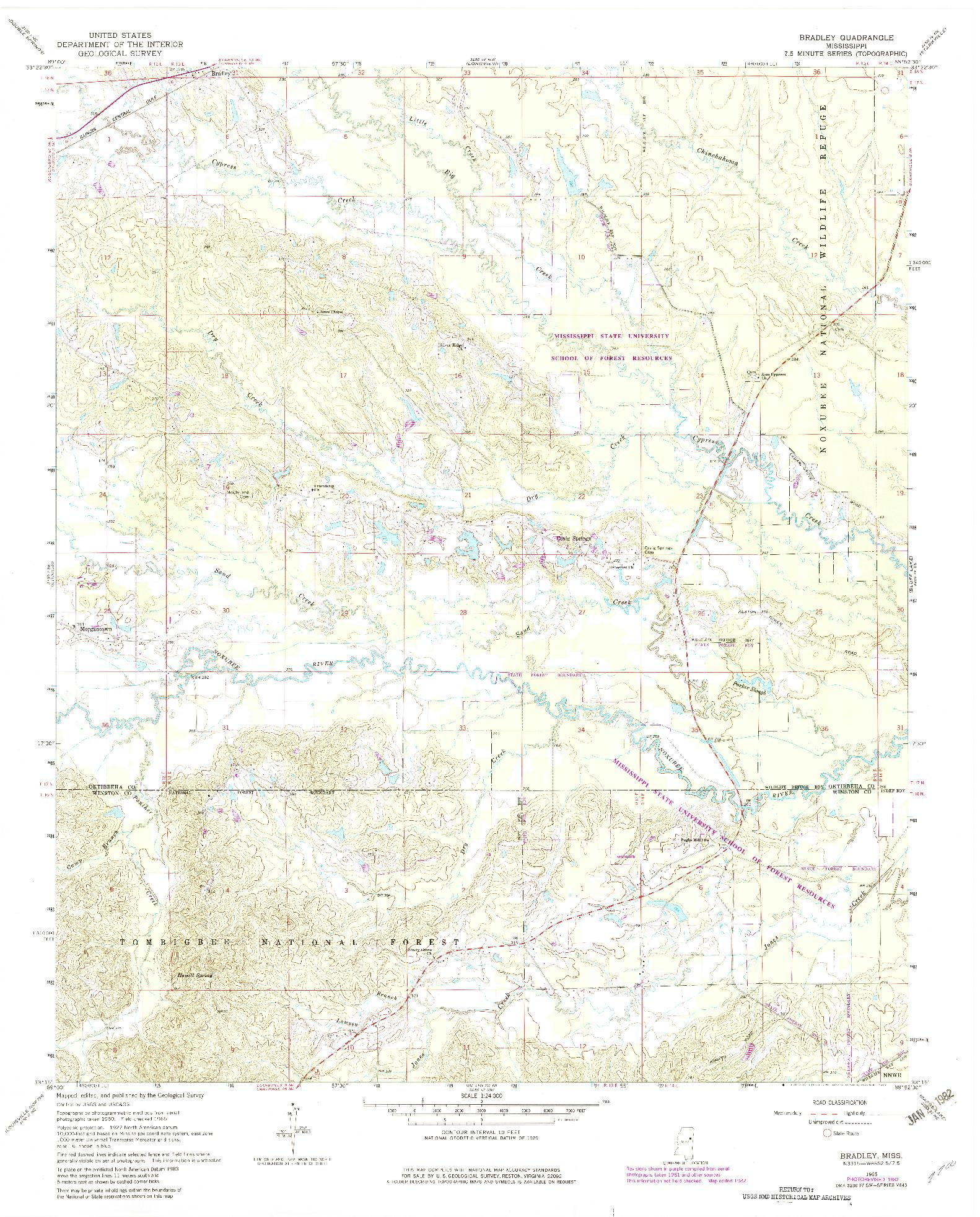 USGS 1:24000-SCALE QUADRANGLE FOR BRADLEY, MS 1965