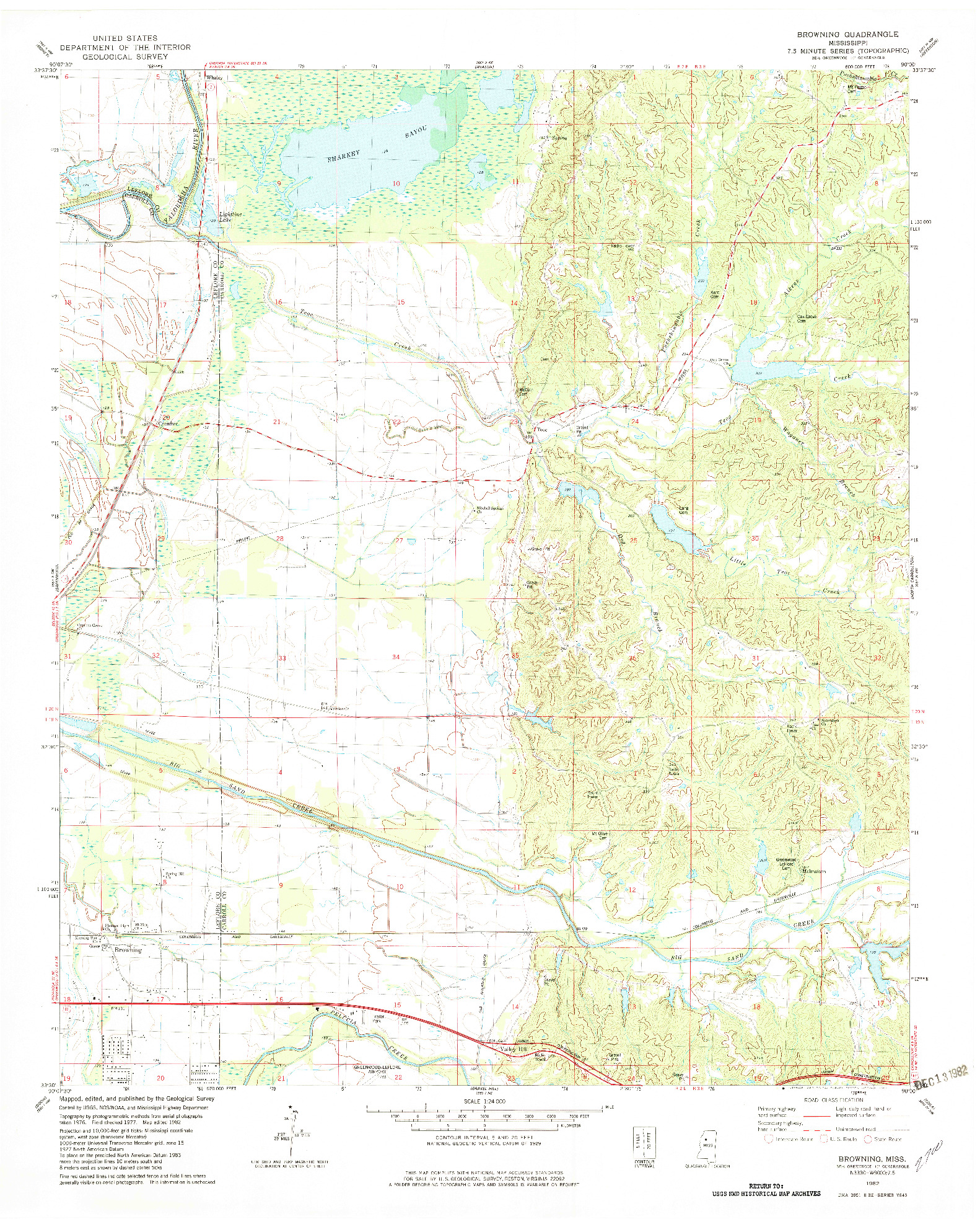 USGS 1:24000-SCALE QUADRANGLE FOR BROWNING, MS 1982