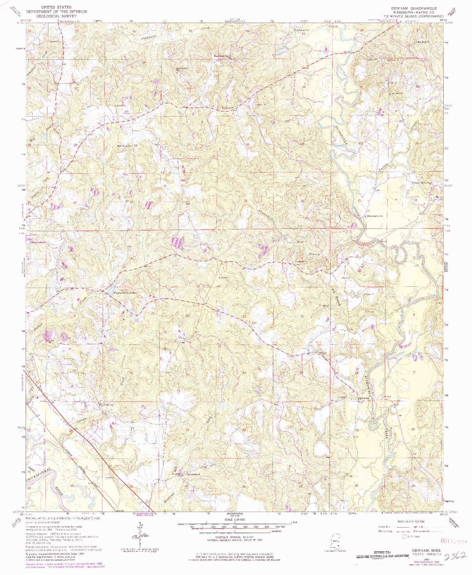 USGS 1:24000-SCALE QUADRANGLE FOR DENHAM, MS 1964