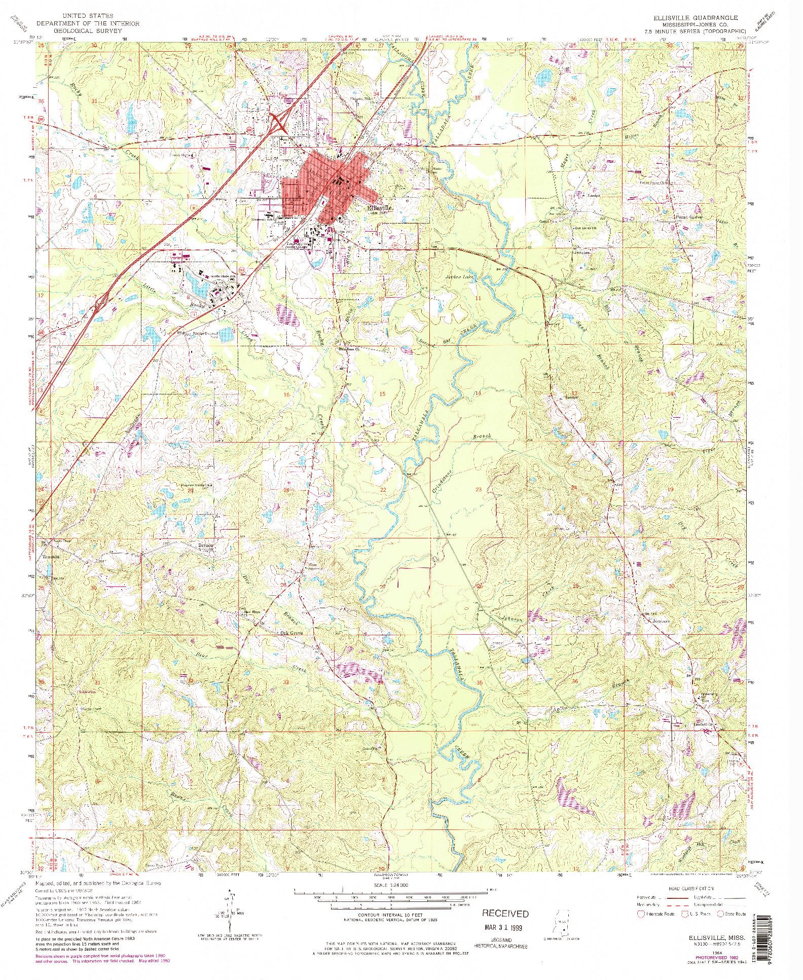 USGS 1:24000-SCALE QUADRANGLE FOR ELLISVILLE, MS 1964