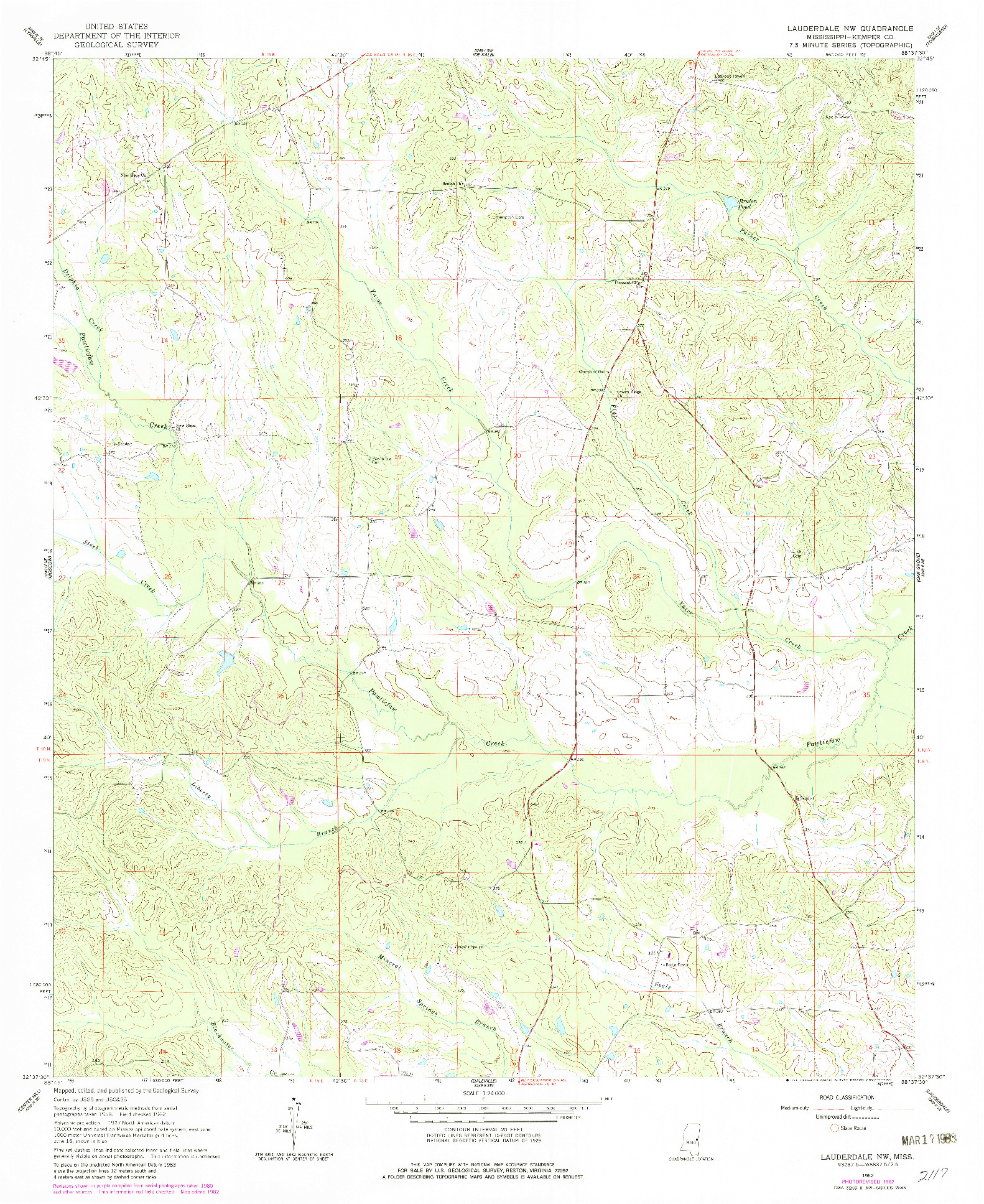 USGS 1:24000-SCALE QUADRANGLE FOR LAUDERDALE NW, MS 1962
