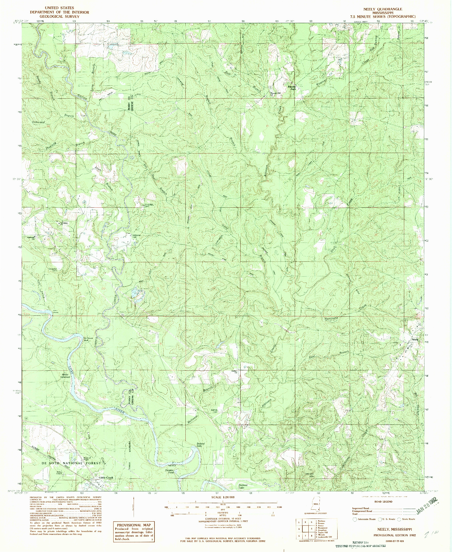 USGS 1:24000-SCALE QUADRANGLE FOR NEELY, MS 1982