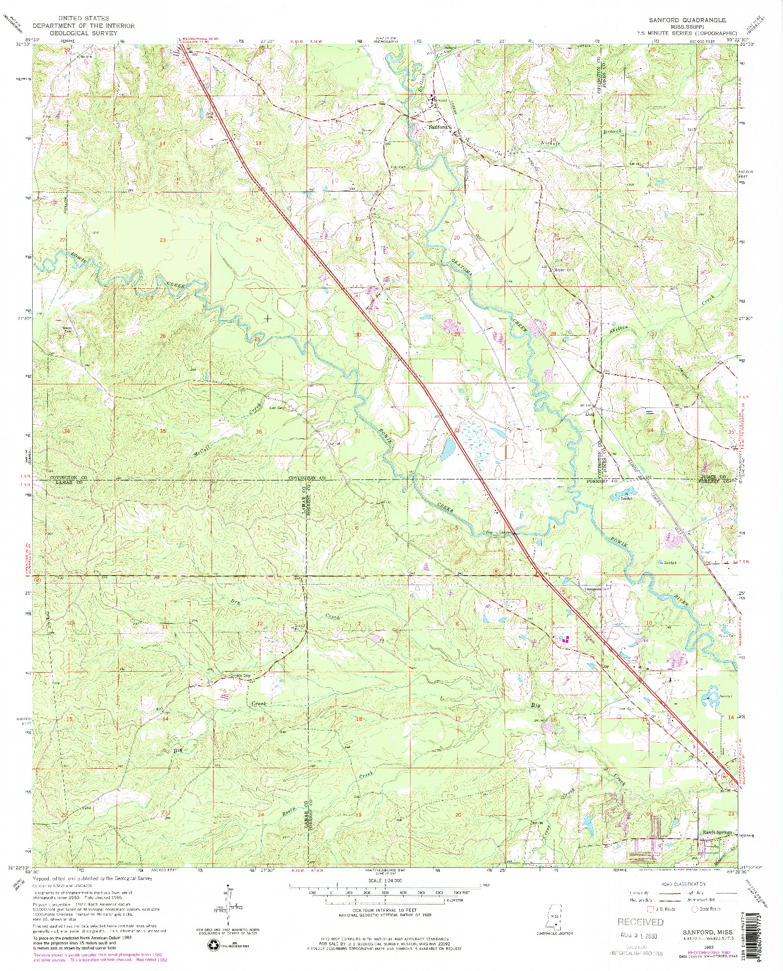 USGS 1:24000-SCALE QUADRANGLE FOR SANFORD, MS 1965