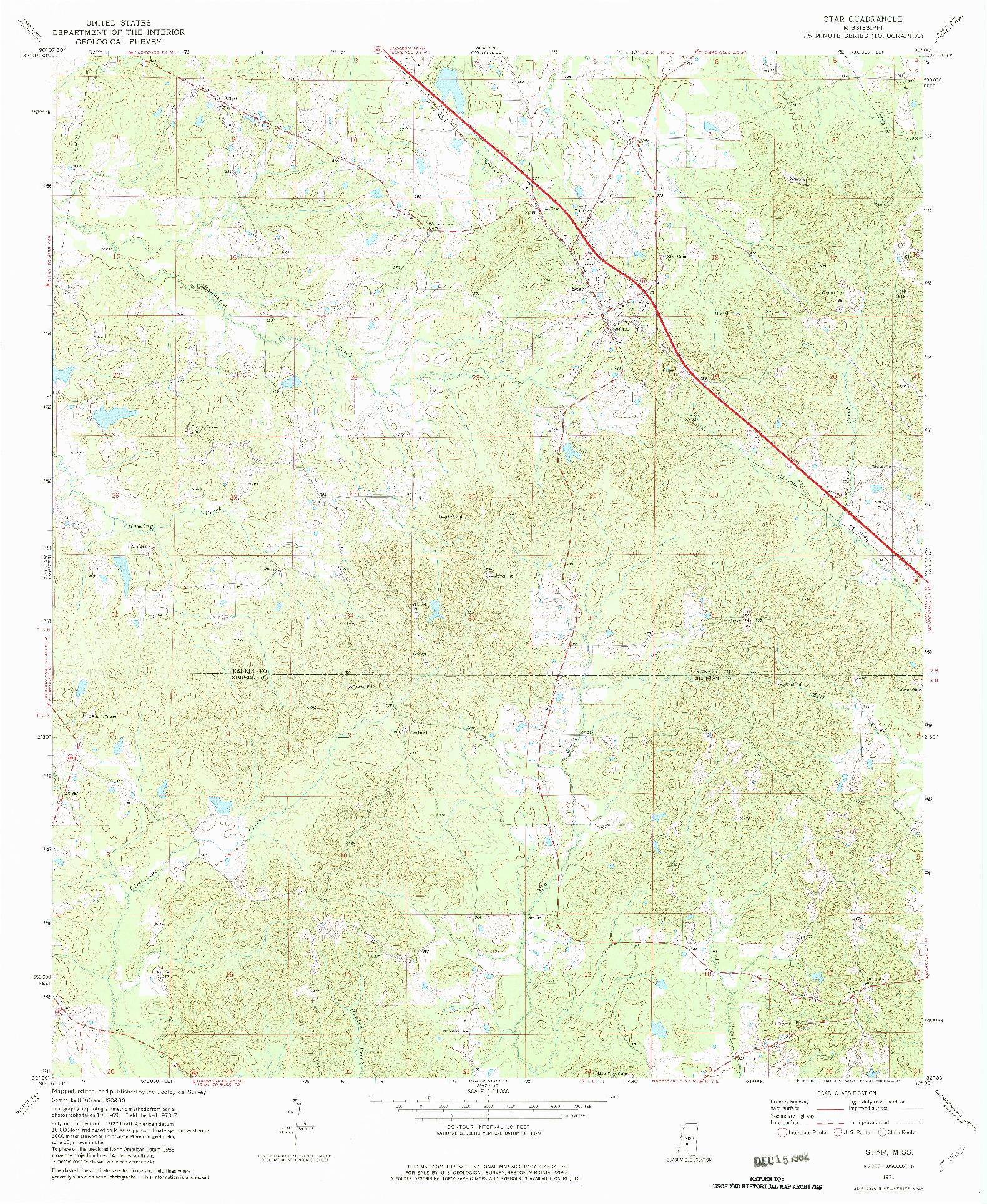 USGS 1:24000-SCALE QUADRANGLE FOR STAR, MS 1971