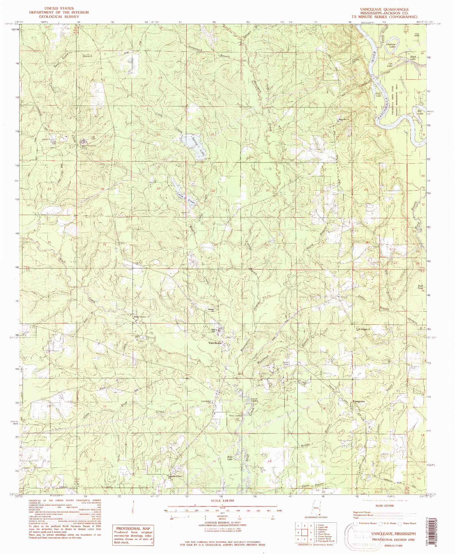 USGS 1:24000-SCALE QUADRANGLE FOR VANCLEAVE, MS 1982
