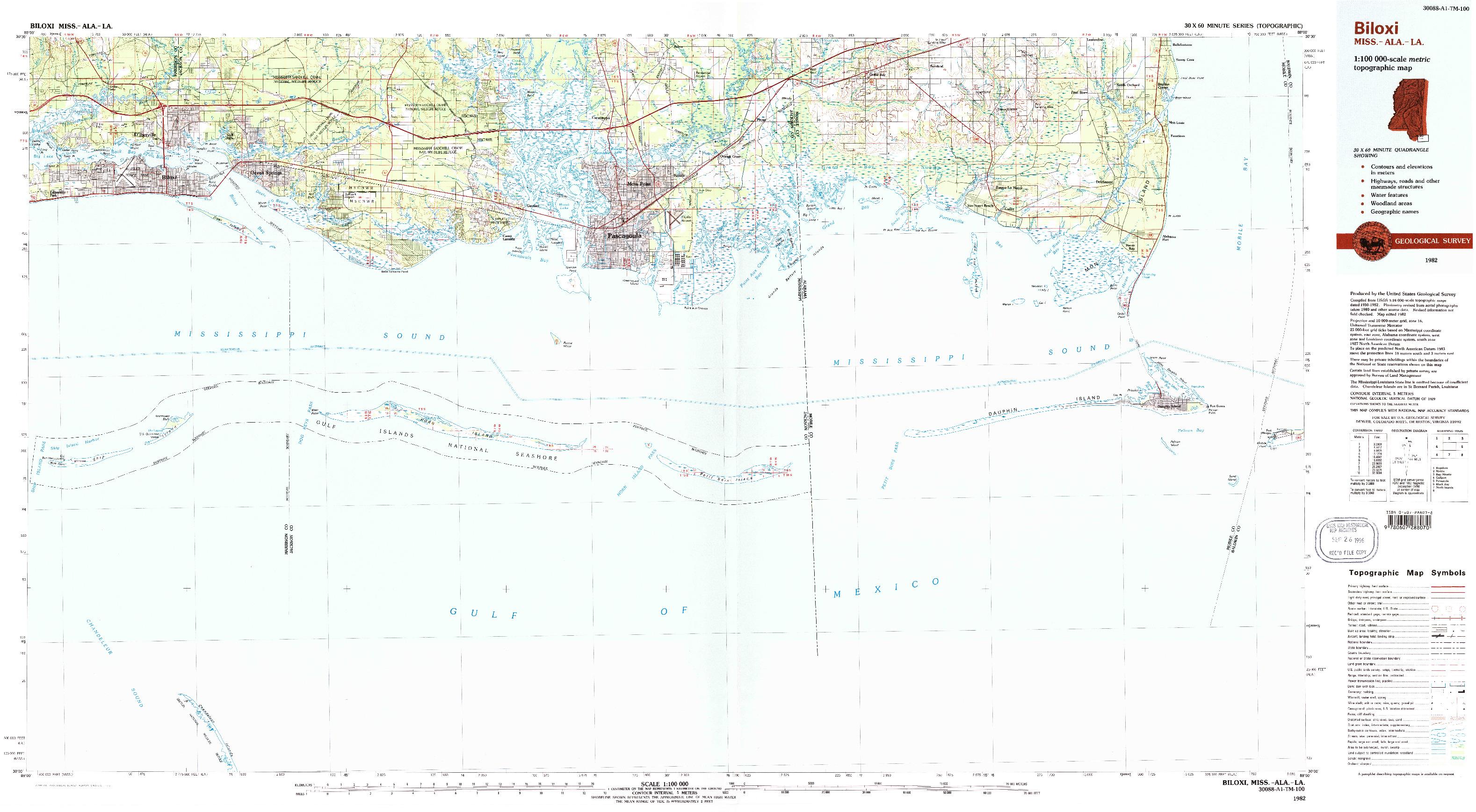 USGS 1:100000-SCALE QUADRANGLE FOR BILOXI, MS 1982