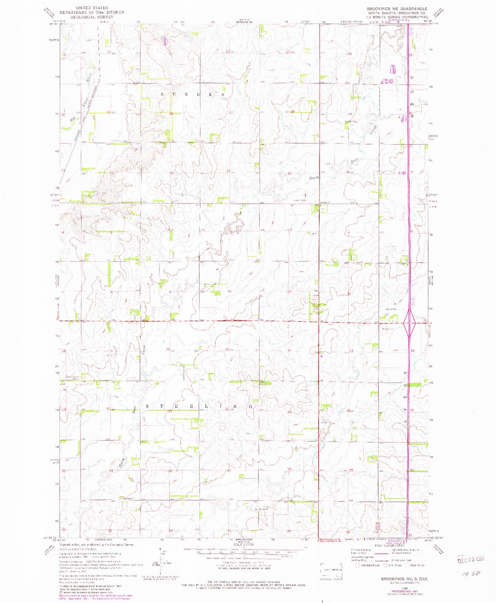 USGS 1:24000-SCALE QUADRANGLE FOR BROOKINGS NE, SD 1968