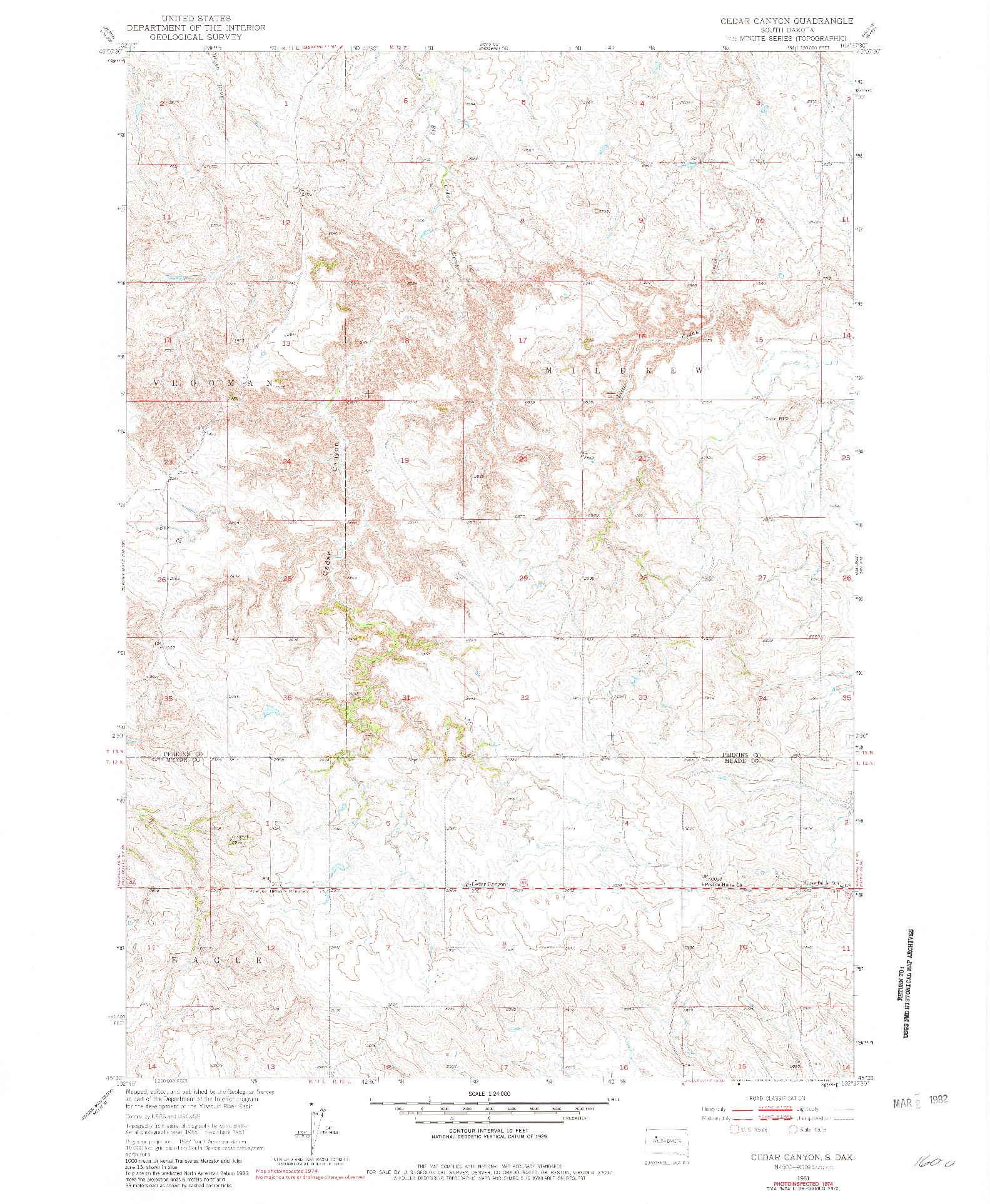USGS 1:24000-SCALE QUADRANGLE FOR CEDAR CANYON, SD 1951