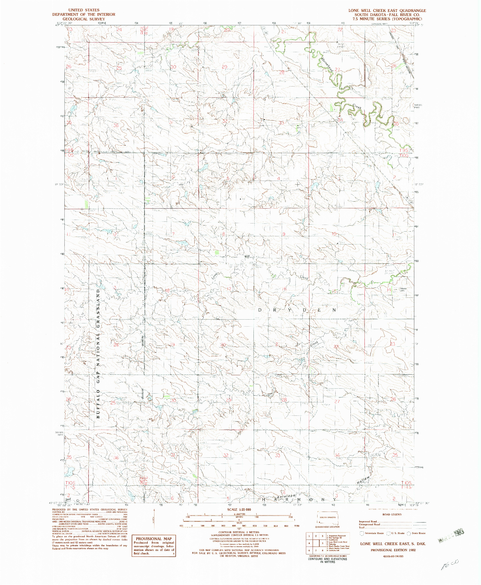 USGS 1:24000-SCALE QUADRANGLE FOR LONE WELL CREEK EAST, SD 1982