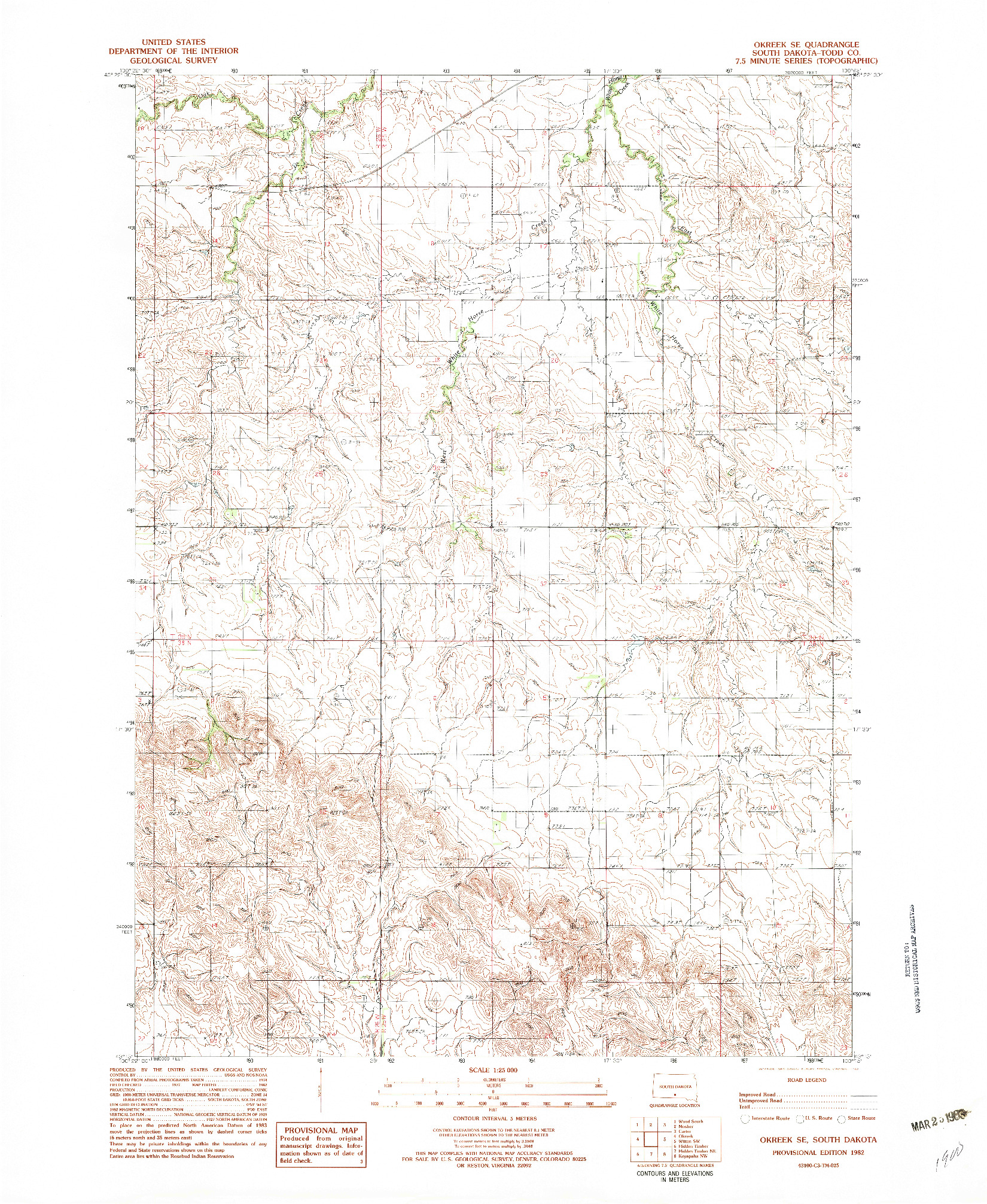 USGS 1:24000-SCALE QUADRANGLE FOR OKREEK SE, SD 1982