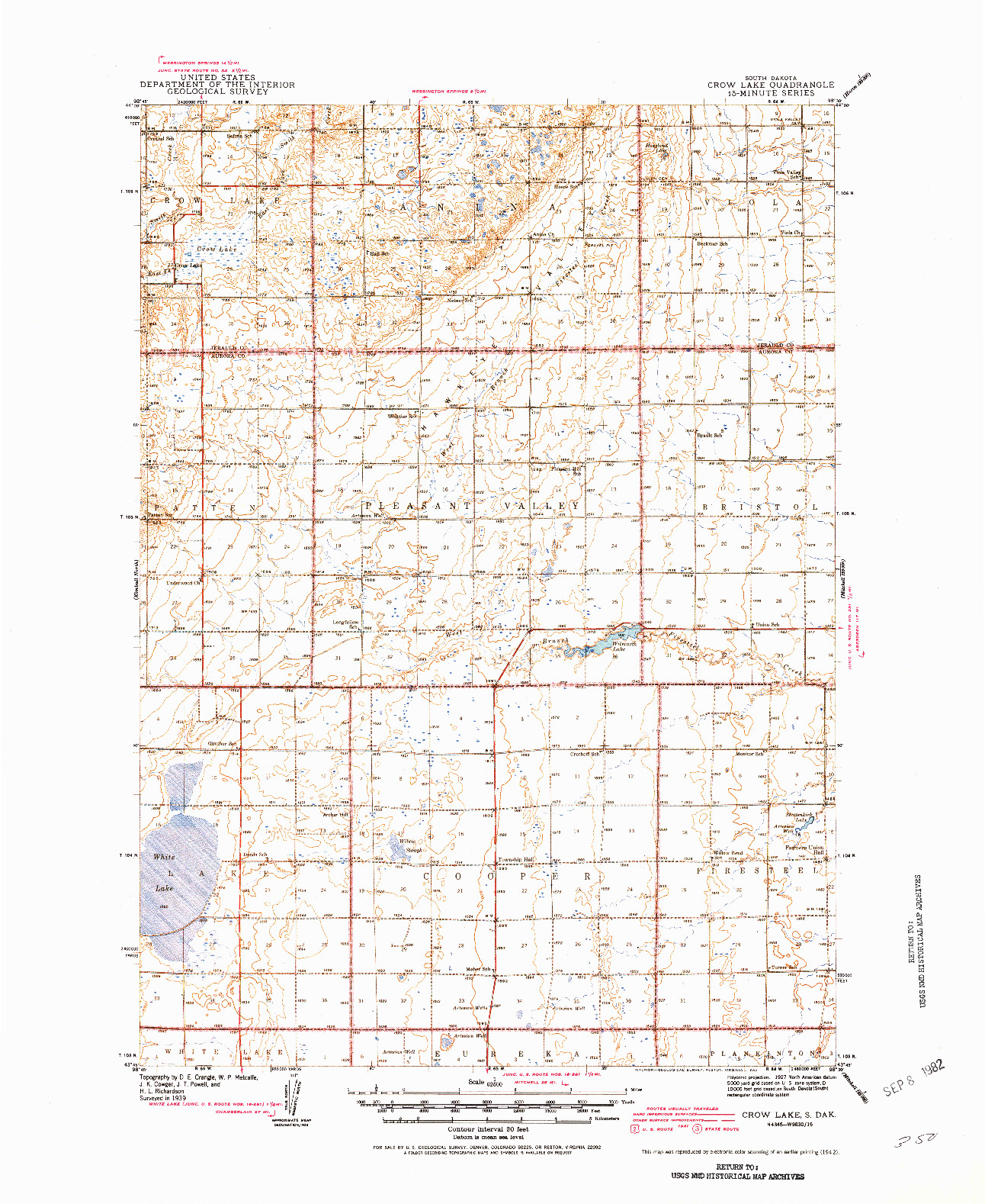 USGS 1:62500-SCALE QUADRANGLE FOR CROW LAKE, SD 1942
