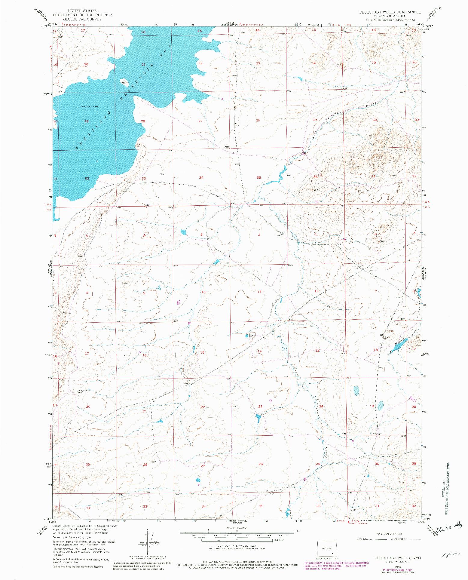USGS 1:24000-SCALE QUADRANGLE FOR BLUEGRASS WELLS, WY 1955