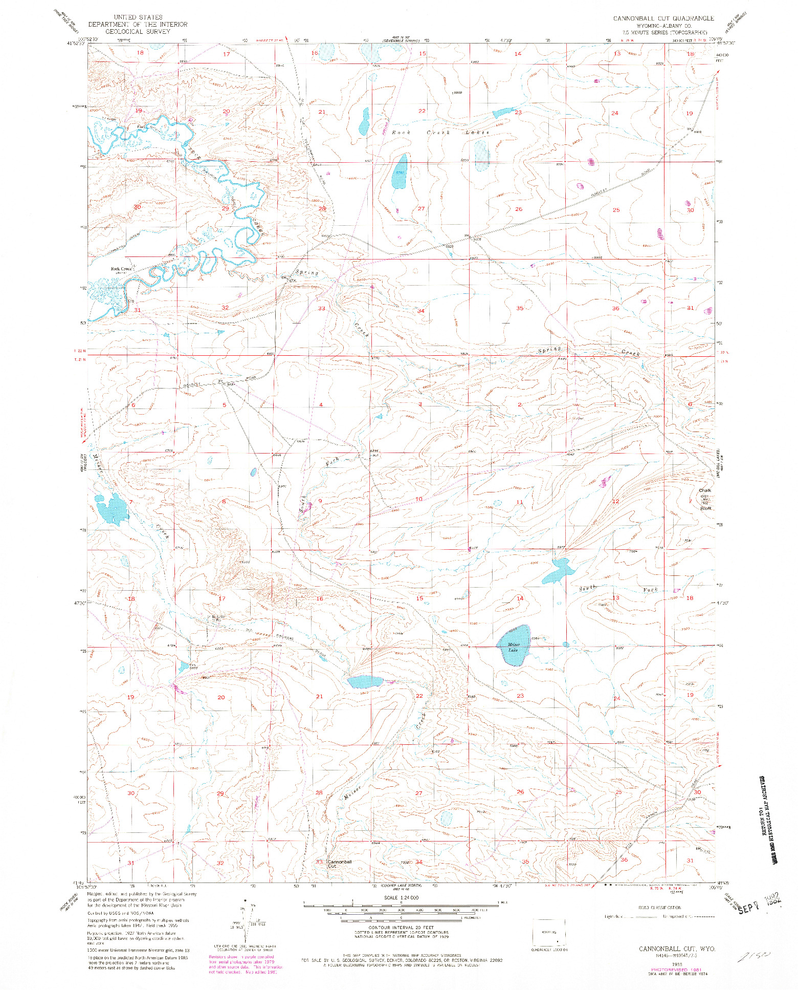 USGS 1:24000-SCALE QUADRANGLE FOR CANNONBALL CUT, WY 1955